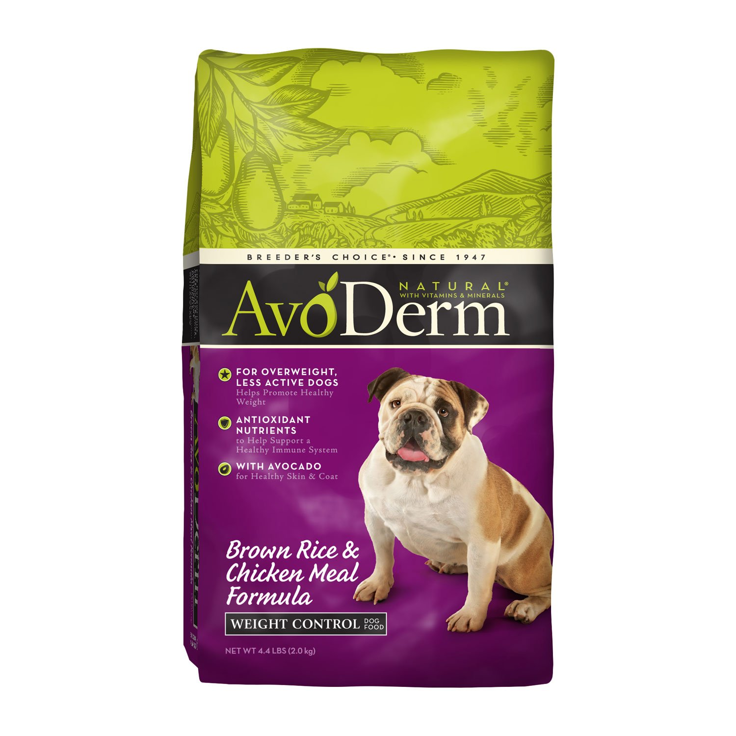 AvoDerm Natural Weight Control Brown Rice & Chicken Meal Formula Dry Dog Food, 4.4 lbs., 4.4-lb bag