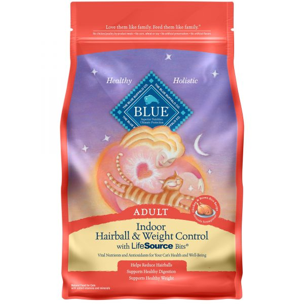 Blue Buffalo Blue Indoor Hairball & Weight Control Adult Chicken & Brown Rice Recipe Dry Cat ...