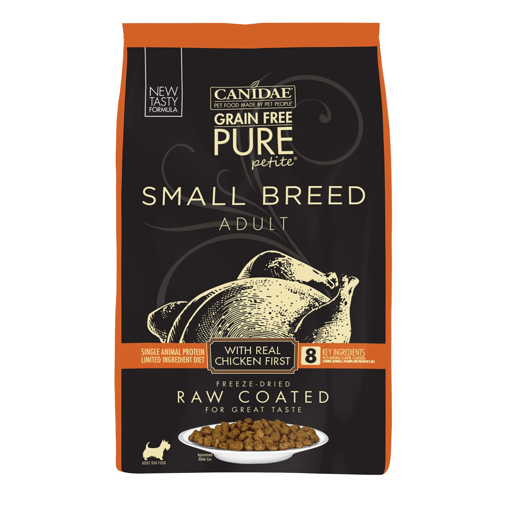 CANIDAE Grain Free PURE Petite Small Breed Dry Dog Food Raw Coated Formula with Chicken, 10 lbs.