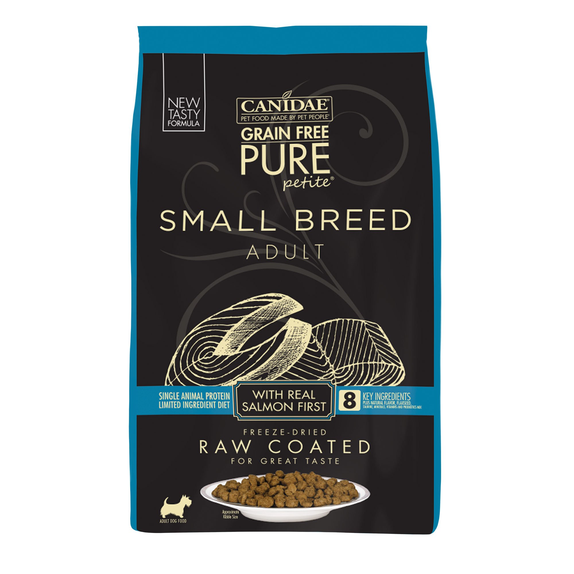 CANIDAE PURE Petite Small Breed Adult Raw Coated with Fresh Salmon Dry Dog Food, 10 lbs.