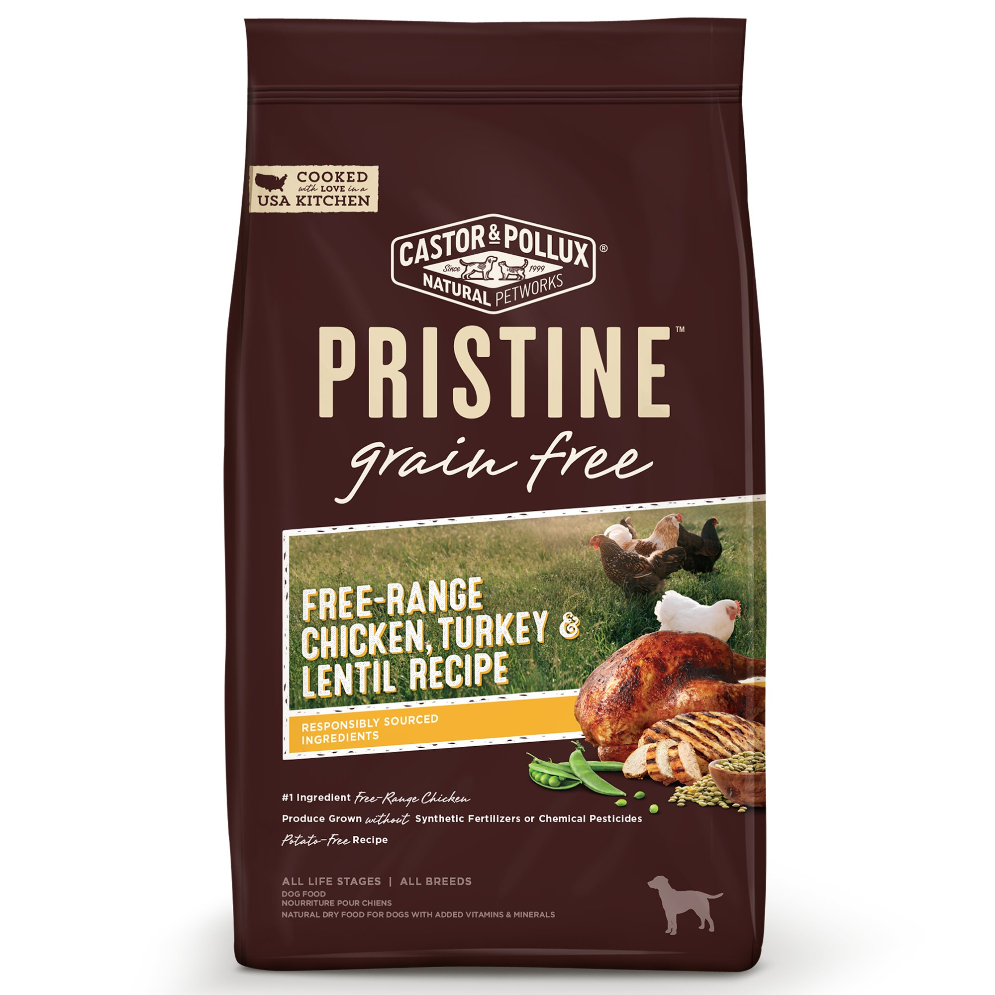 Castor & Pollux Pristine Grain Free Free-Range Chicken, Turkey and Lentil Recipe Dry Dog Food, 10 lbs.