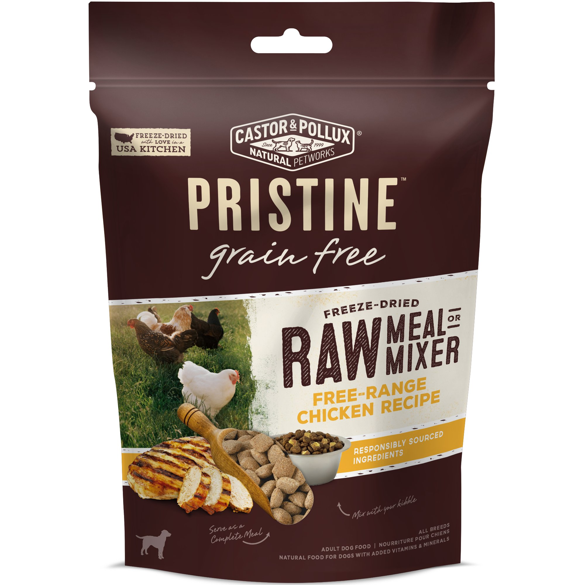 Castor & Pollux Pristine Grain Free Freeze-Dried Raw Meal or Mixer Free Range Chicken Recipe Adult Dry Dog Food, 5.5 oz.
