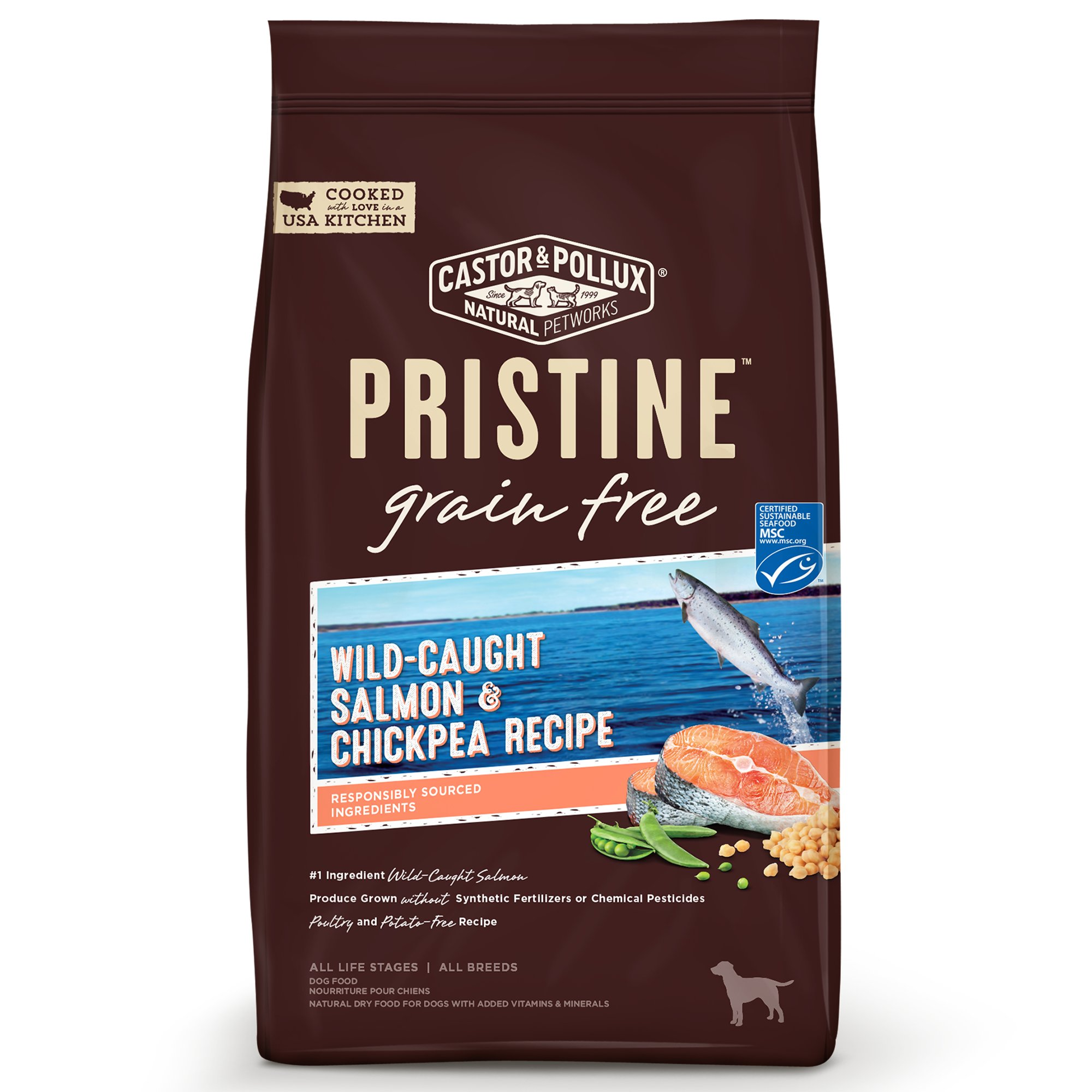 Castor & Pollux Pristine Grain Free Wild-Caught Salmon and Chickpea Recipe Dry Dog Food, 18 lbs.