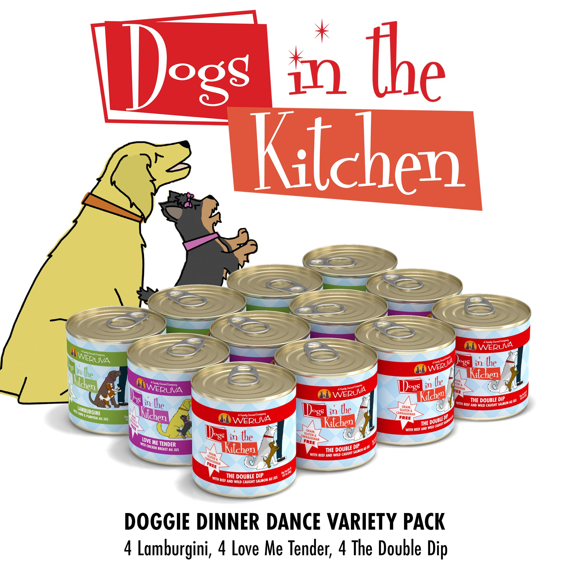 Dogs in the Kitchen Doggie Dinner Dance Variety Pack Wet Dog Food, 10 oz., Count of 12