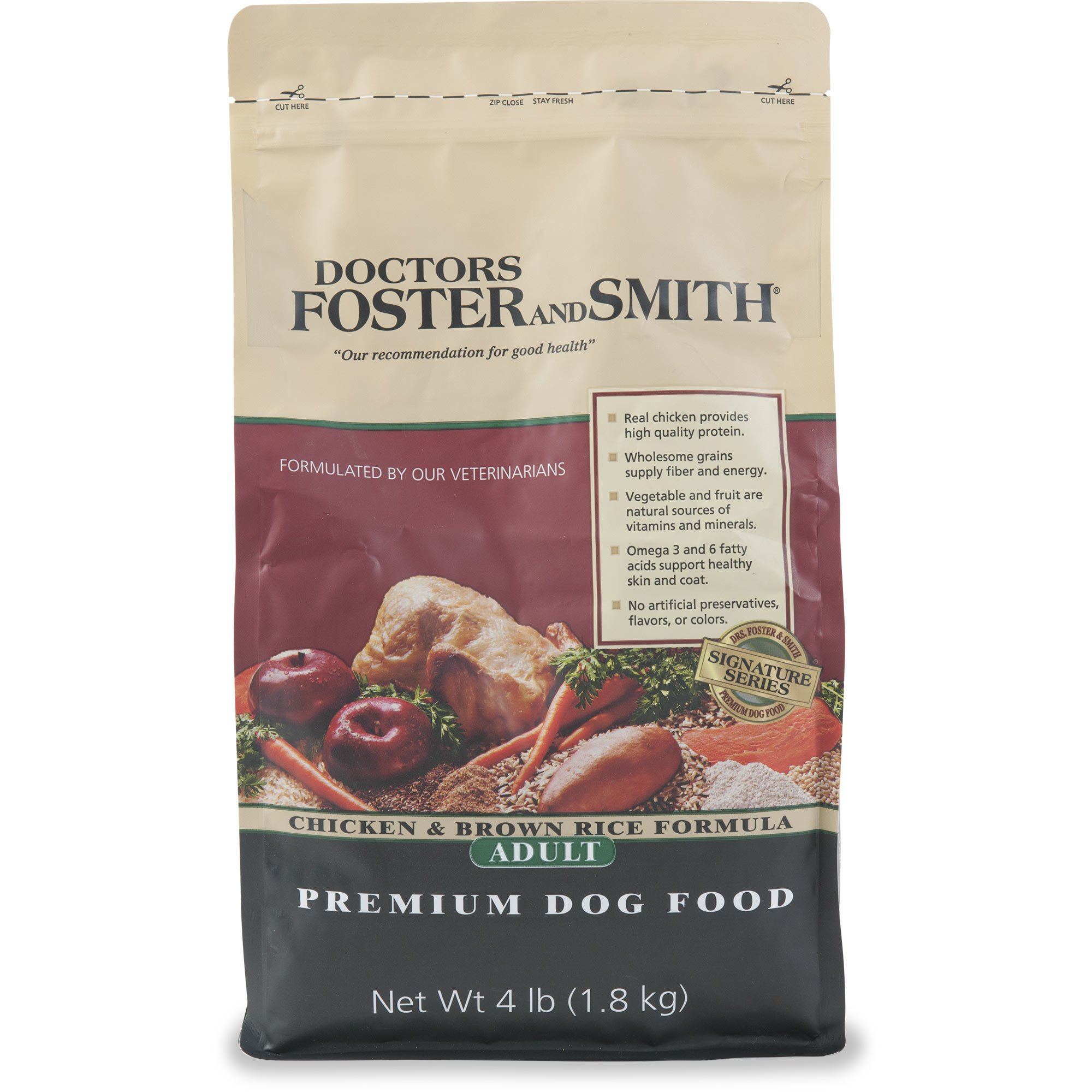 Drs. Foster and Smith Signature Series Chicken & Brown Rice Formula Adult Dry Dog Food, 4 lbs.