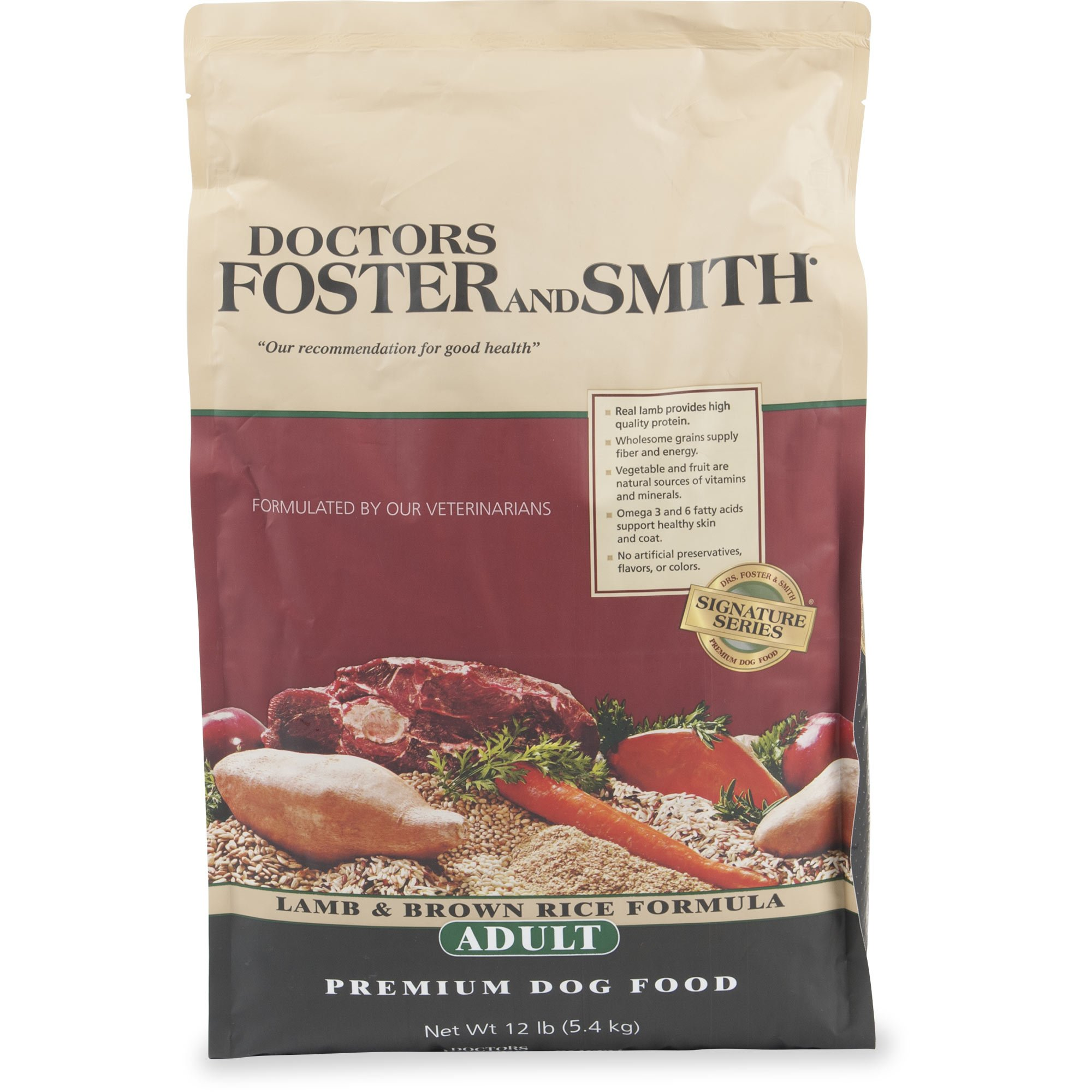 Drs. Foster and Smith Signature Series Lamb & Brown Rice Formula Adult Dry Dog Food, 12 lbs.