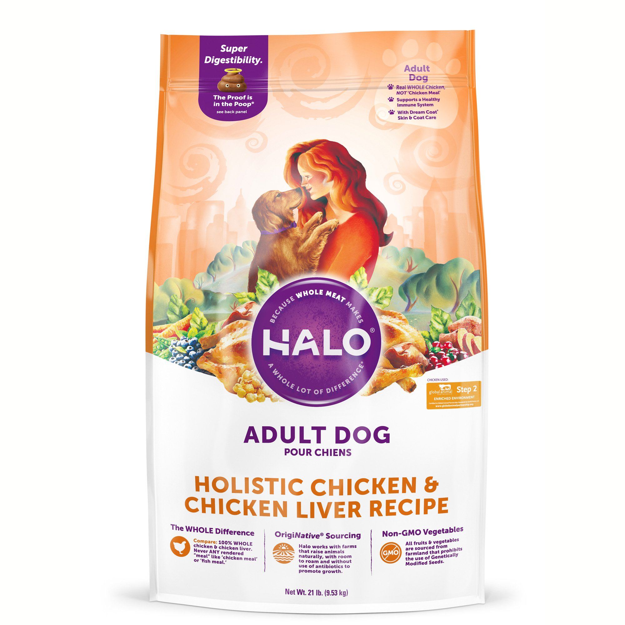 Halo Adult Holistic Chicken & Chicken Liver Dry Dog Food, 21 lbs.
