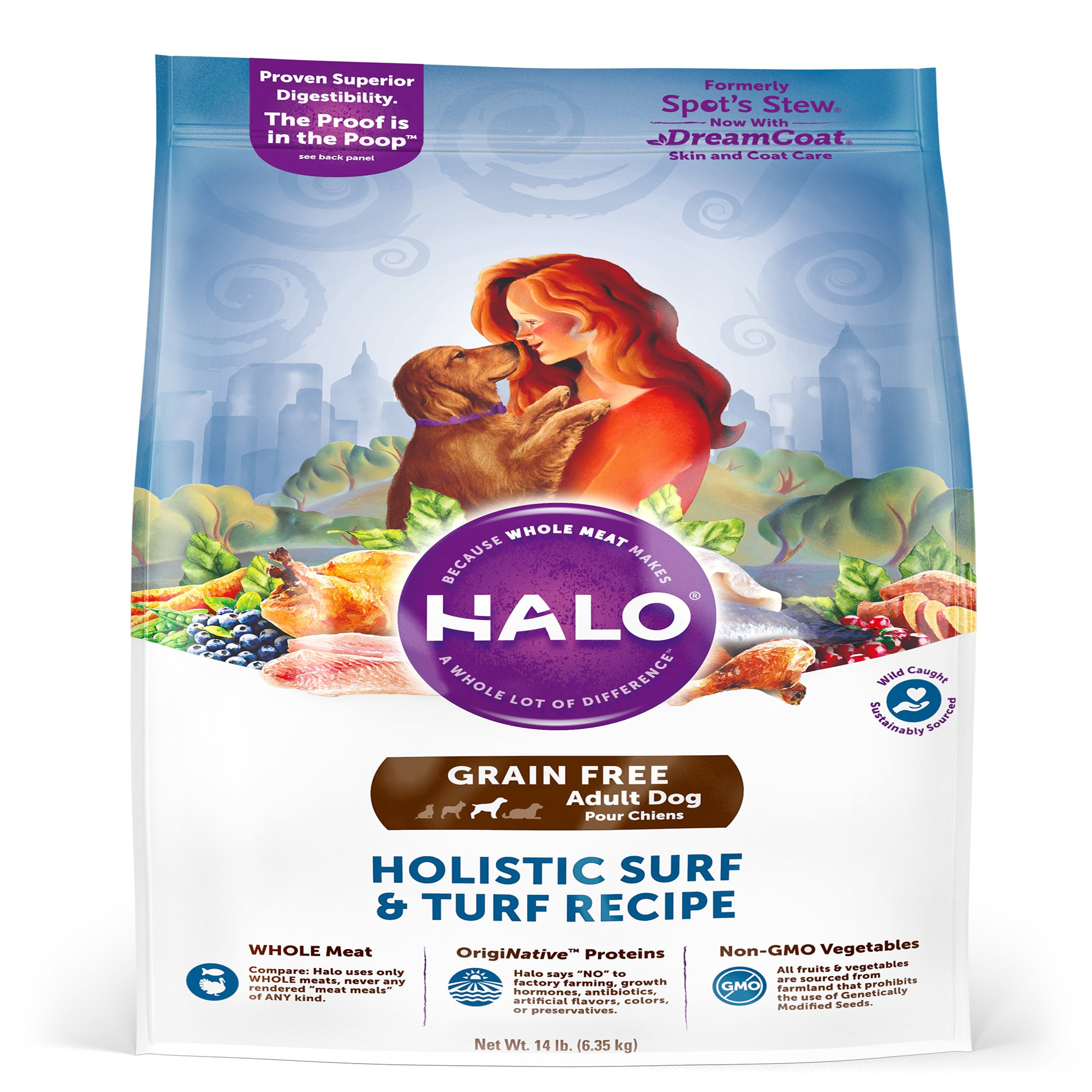 Halo Grain Free Holistic Surf N Turf Dry Dog Food, 4 lbs