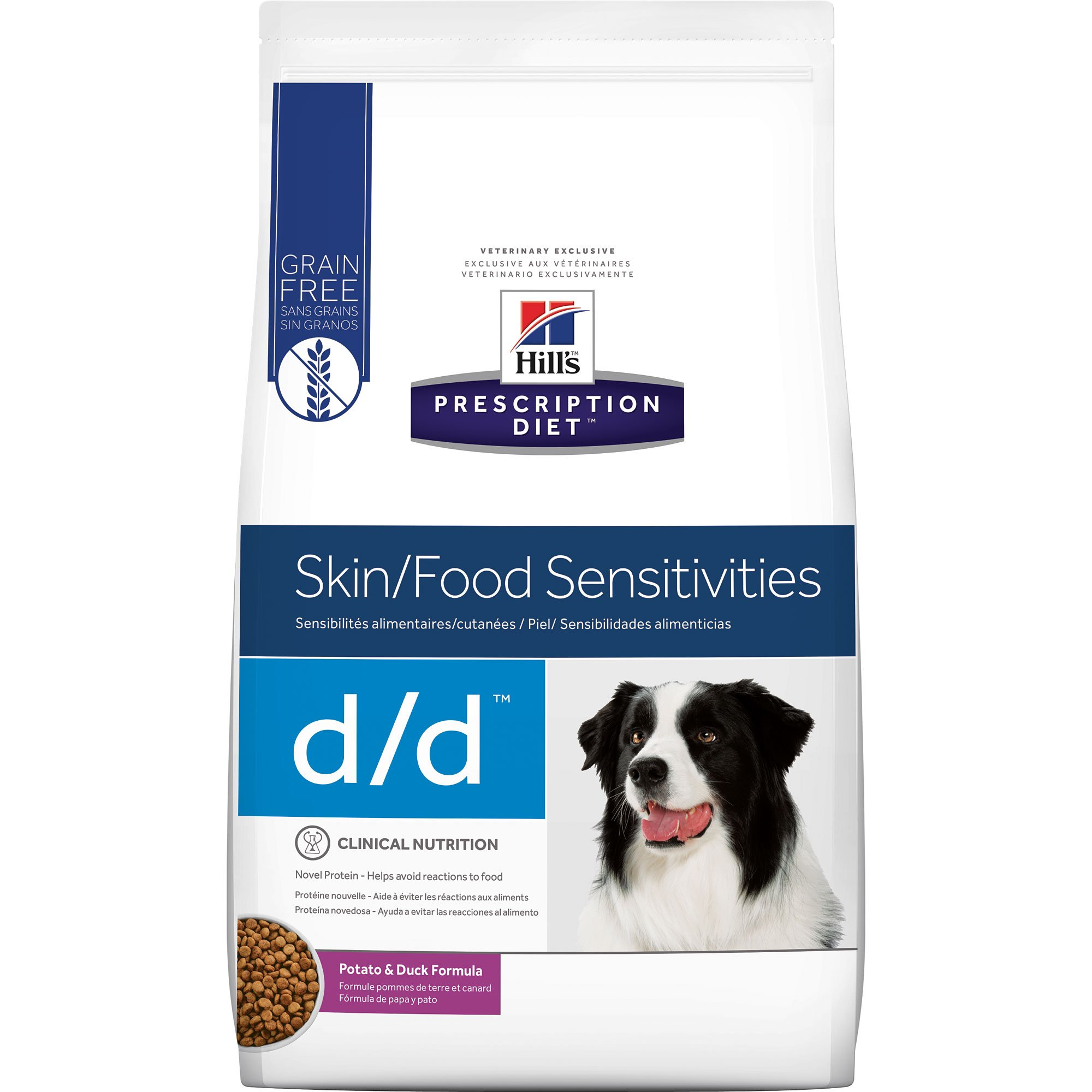Hill's Prescription Diet d/d Skin/Food Sensitivities Grain Free Potato & Duck Flavor Dry Dog Food, 25 lbs., bag