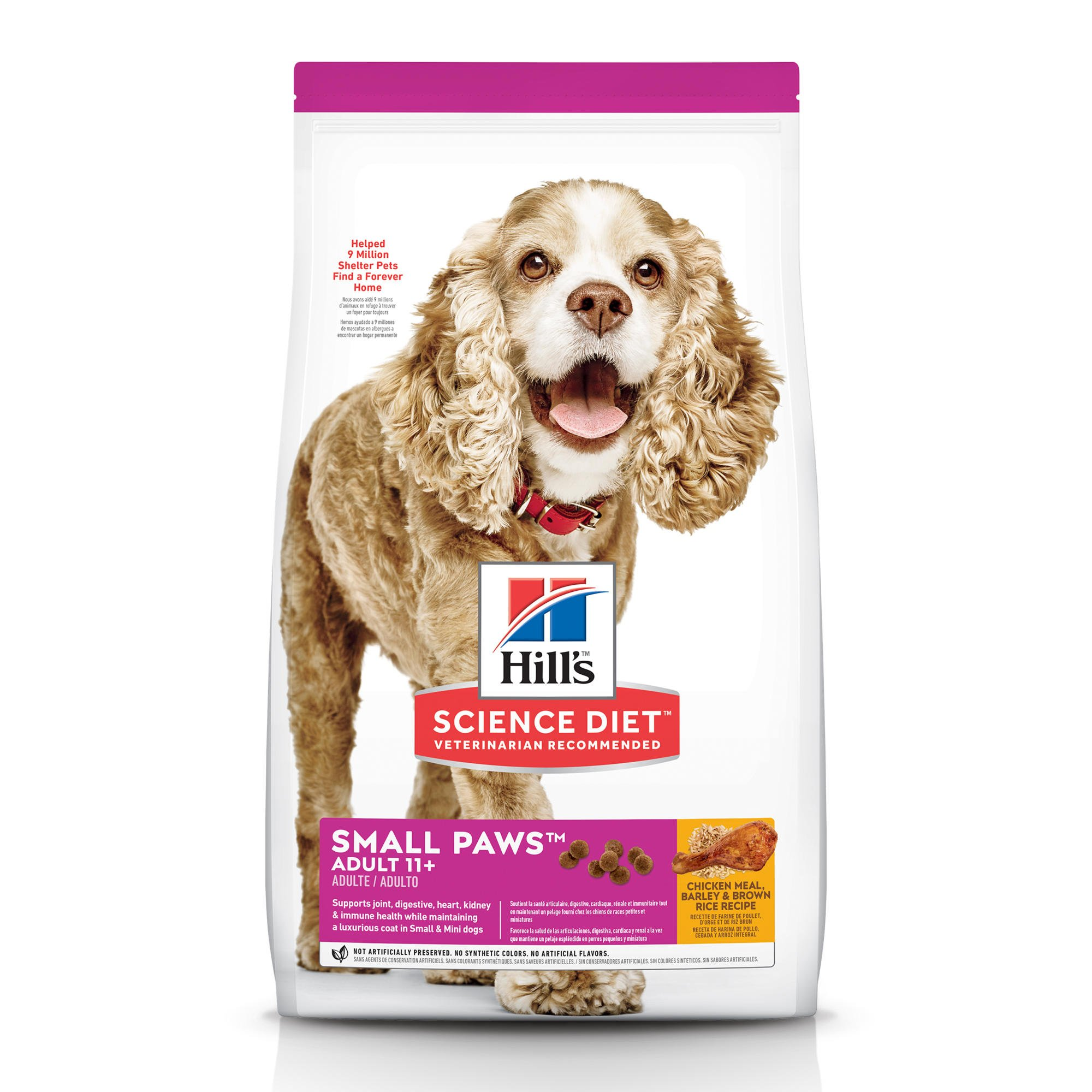 Hill's Science Diet Adult 11+ Small Paws Chicken Meal, Barley & Brown Rice Recipe Dry Dog Food, 4.5 lbs., Bag