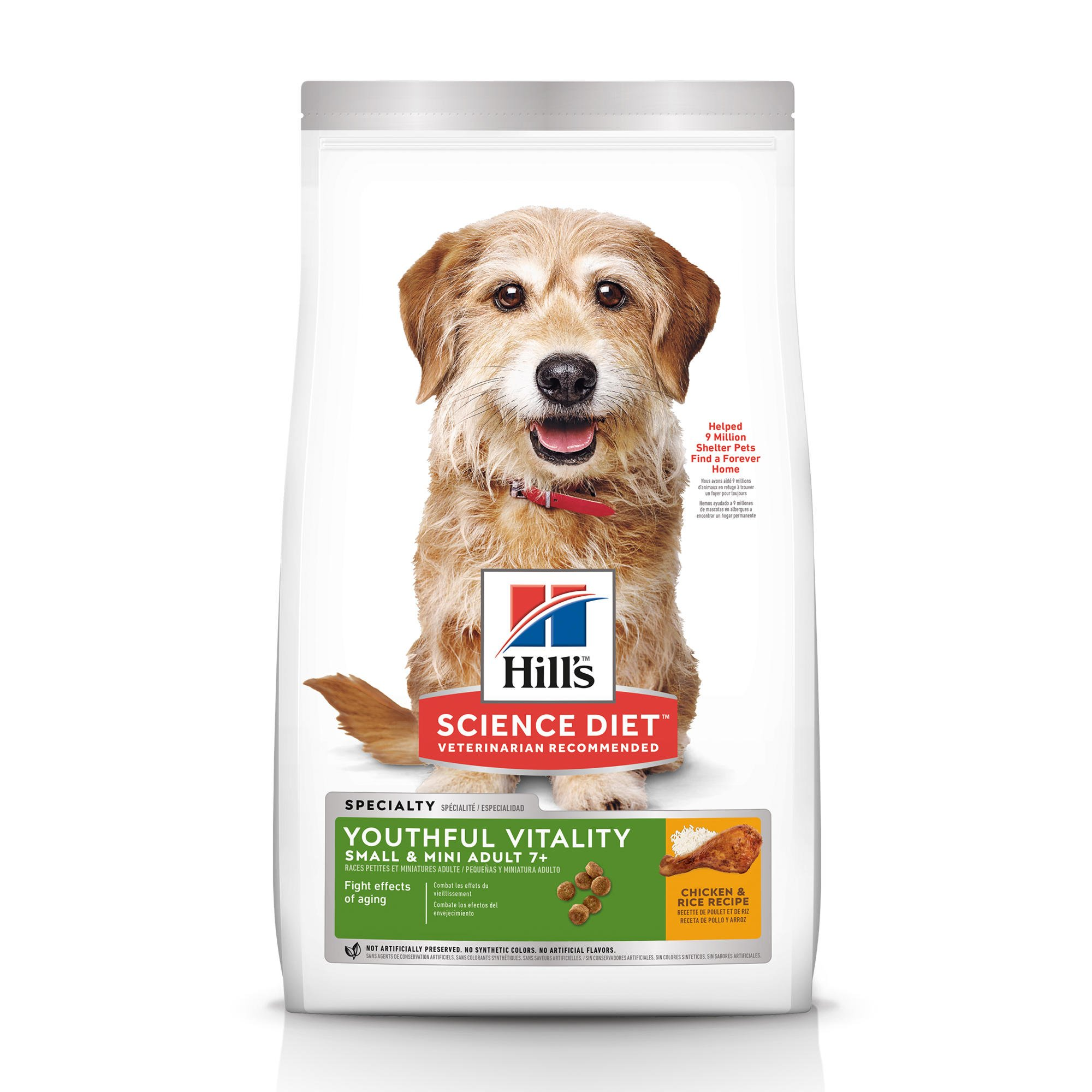 Hill's Science Diet Adult 7+ Youthful Vitality Small & Mini Chicken & Rice Recipe Dry Dog Food, 12.5 lbs.