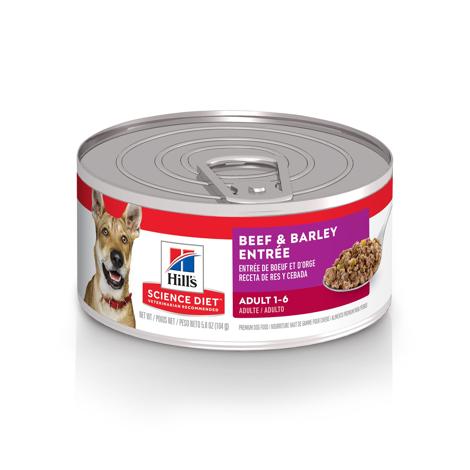 Hill's Science Diet Adult Beef & Barley Entree Canned Dog Food, 5.8 oz., Case of 24, 24 X 5.8 OZ