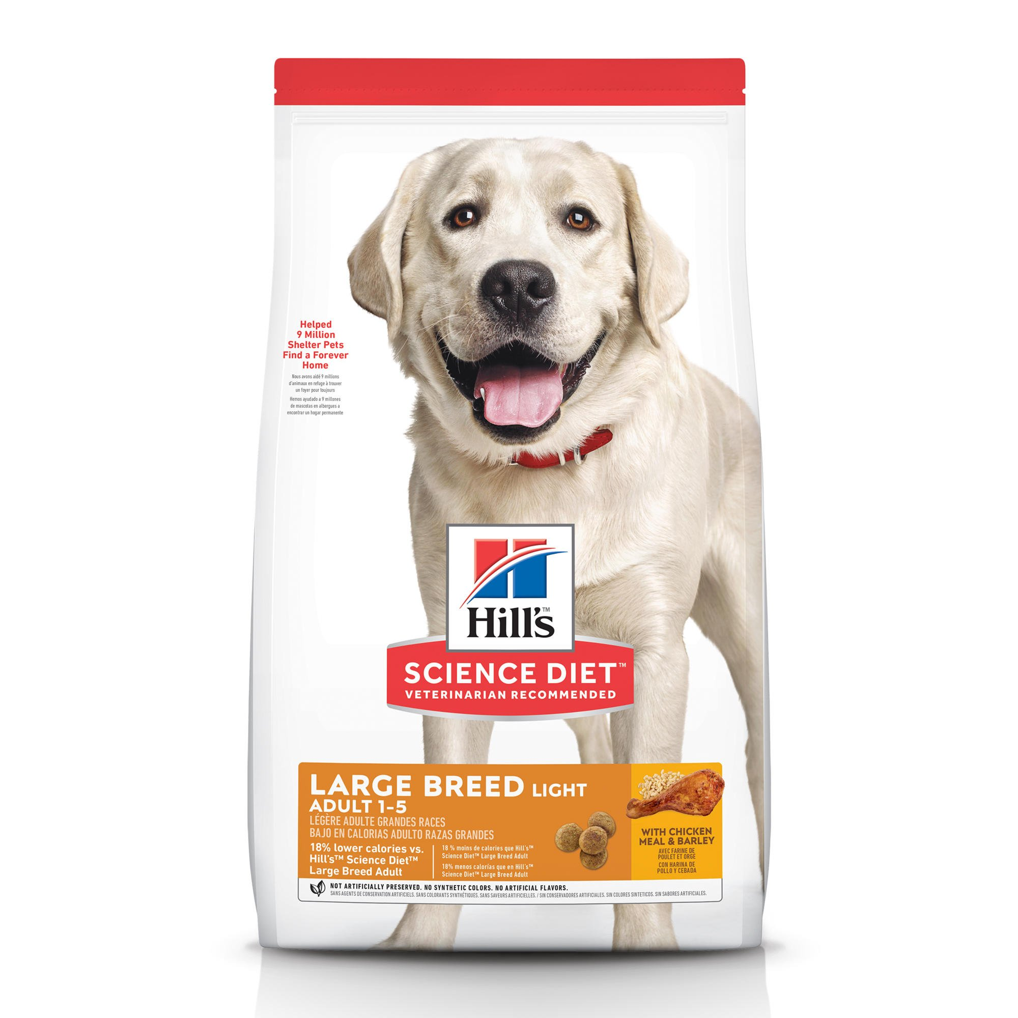 Hill's Science Diet Adult Light Large Breed with Chicken Meal & Barley Dry Dog Food, 15 lbs., Bag