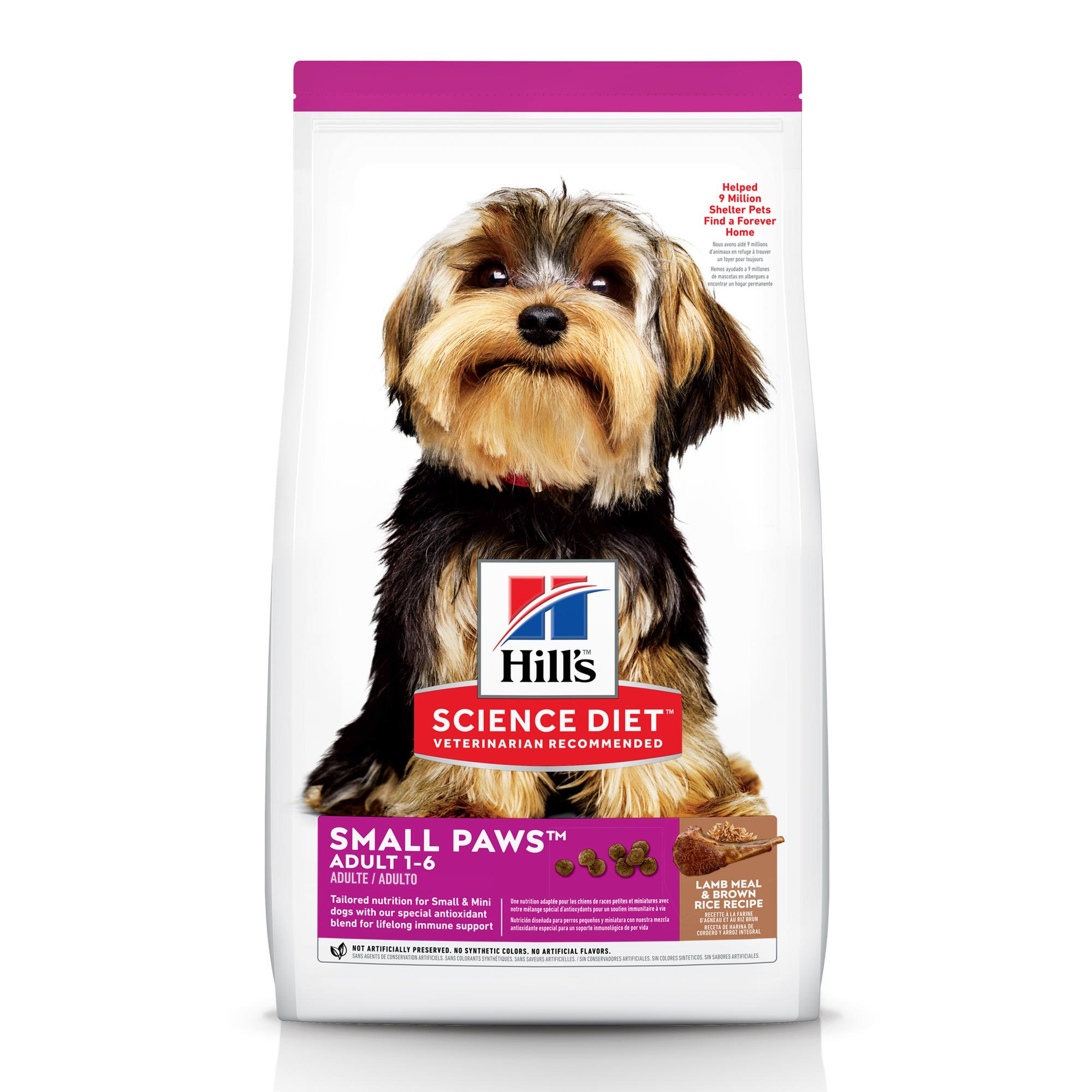 Hill's Science Diet Adult Small Paws Lamb Meal & Brown Rice Recipe Dry Dog Food, 15.5 lbs., Bag