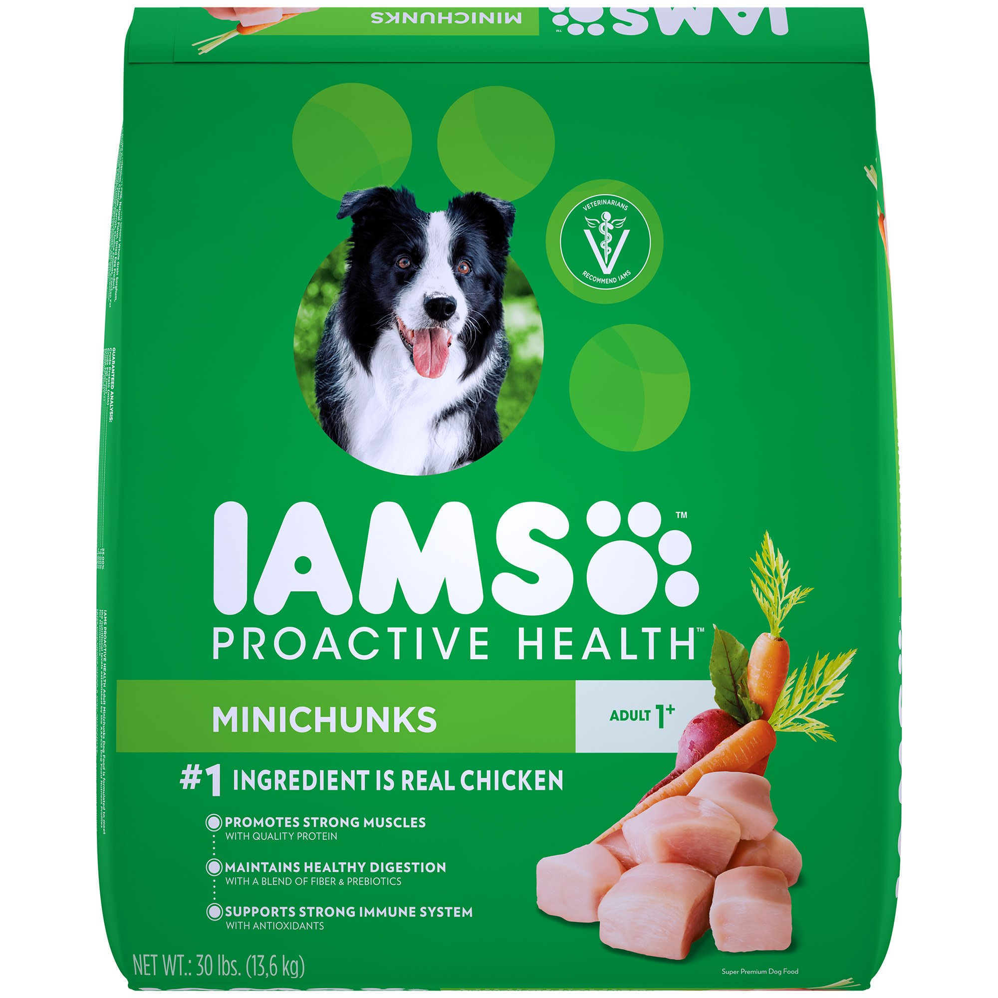 Iams ProActive Health Adult Minichunks Small Kibble High Protein with Real Chicken Dry Dog Food, 30 lbs.