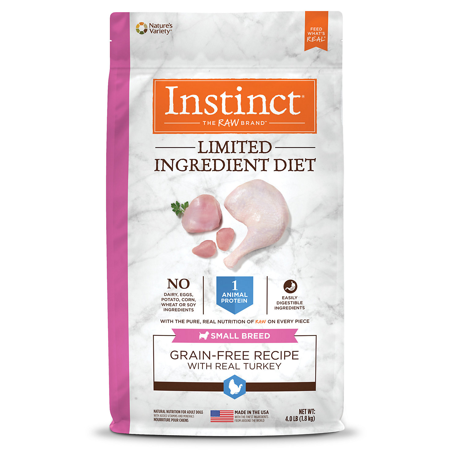 Instinct Limited Ingredient Diet Small Breed Grain Free Recipe with Real Turkey Natural Dry Dog Food by Nature's Variety