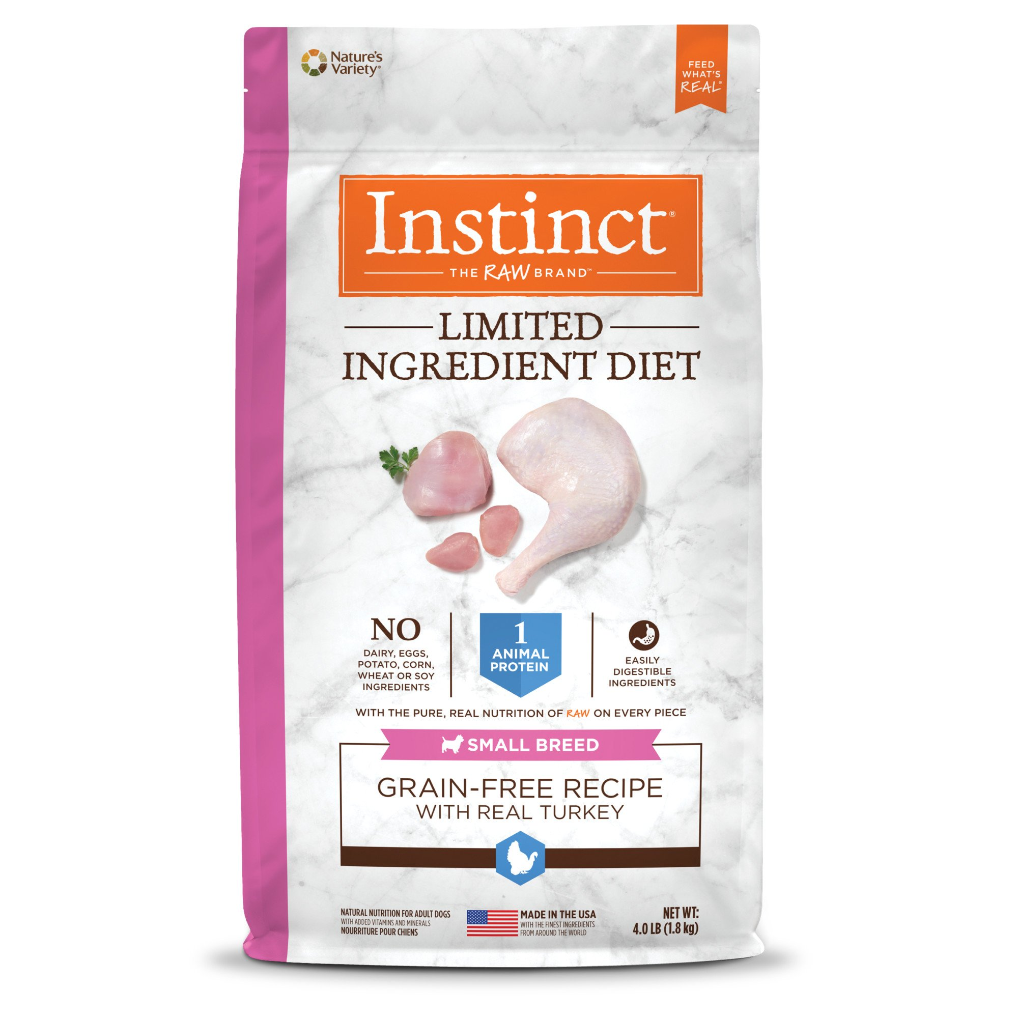 Instinct Limited Ingredient Diet Small Breed Grain Free Recipe with Turkey Natural Dry Dog Food by Nature's Variety, 4 lbs.
