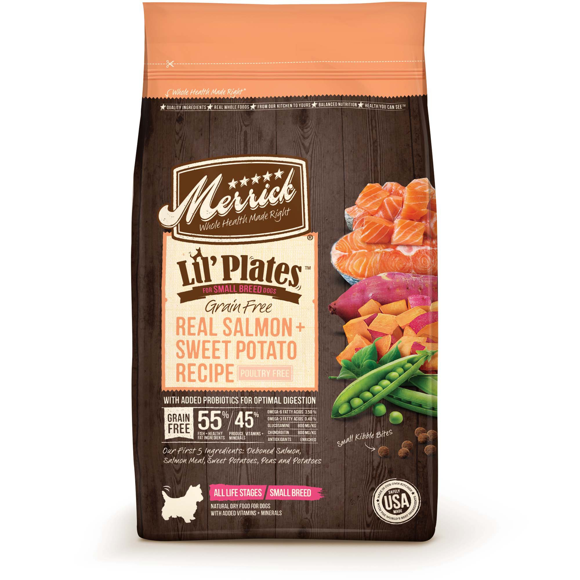 Merrick Lil' Plates Grain Free Real Salmon + Sweet Potato Small Breed Dry Dog Food, 4 lbs.