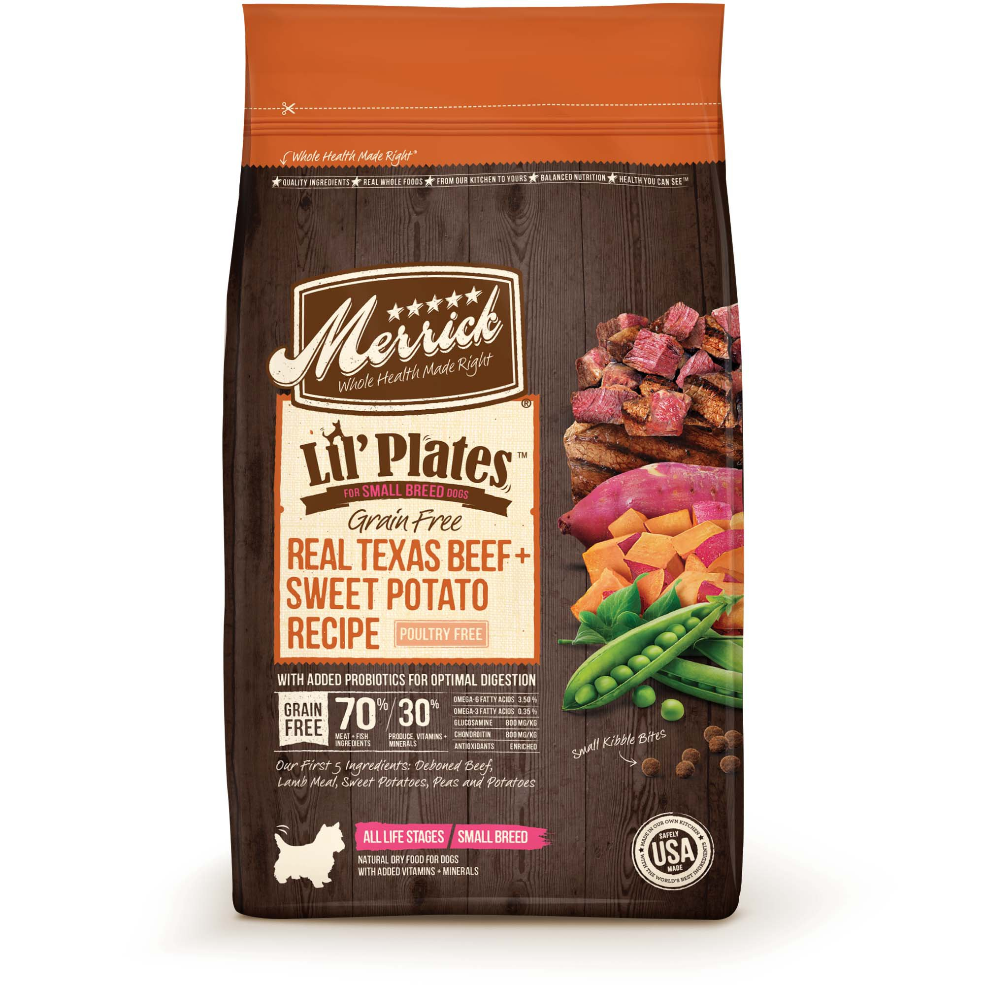 Merrick Lil' Plates Grain Free Texas Real Beef + Sweet Potato Small Breed Dry Dog Food, 12 lbs.