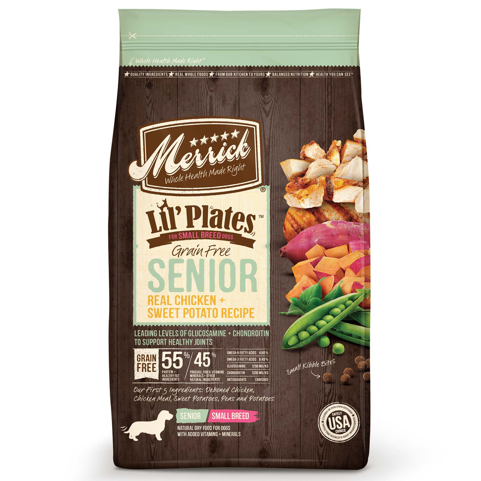 Merrick Lil' Plates Small Breed Grain Free Real Chicken + Sweet Potato Small Breed Senior Dry Dog Food, 12 lbs.