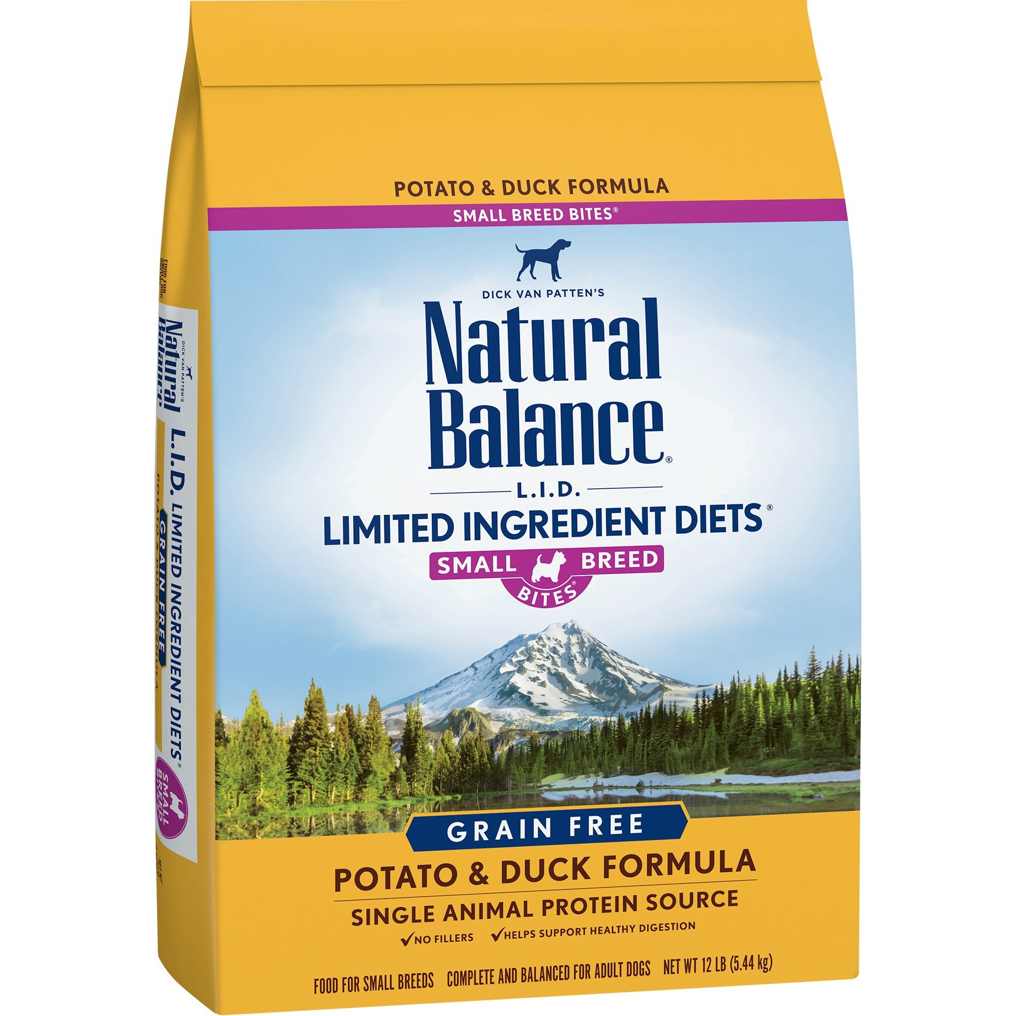 Natural Balance Small Breed Bites L.I.D. Limited Ingredient Diets Grain-Free Potato & Duck Formula Dry Dog Food, 12 lbs.