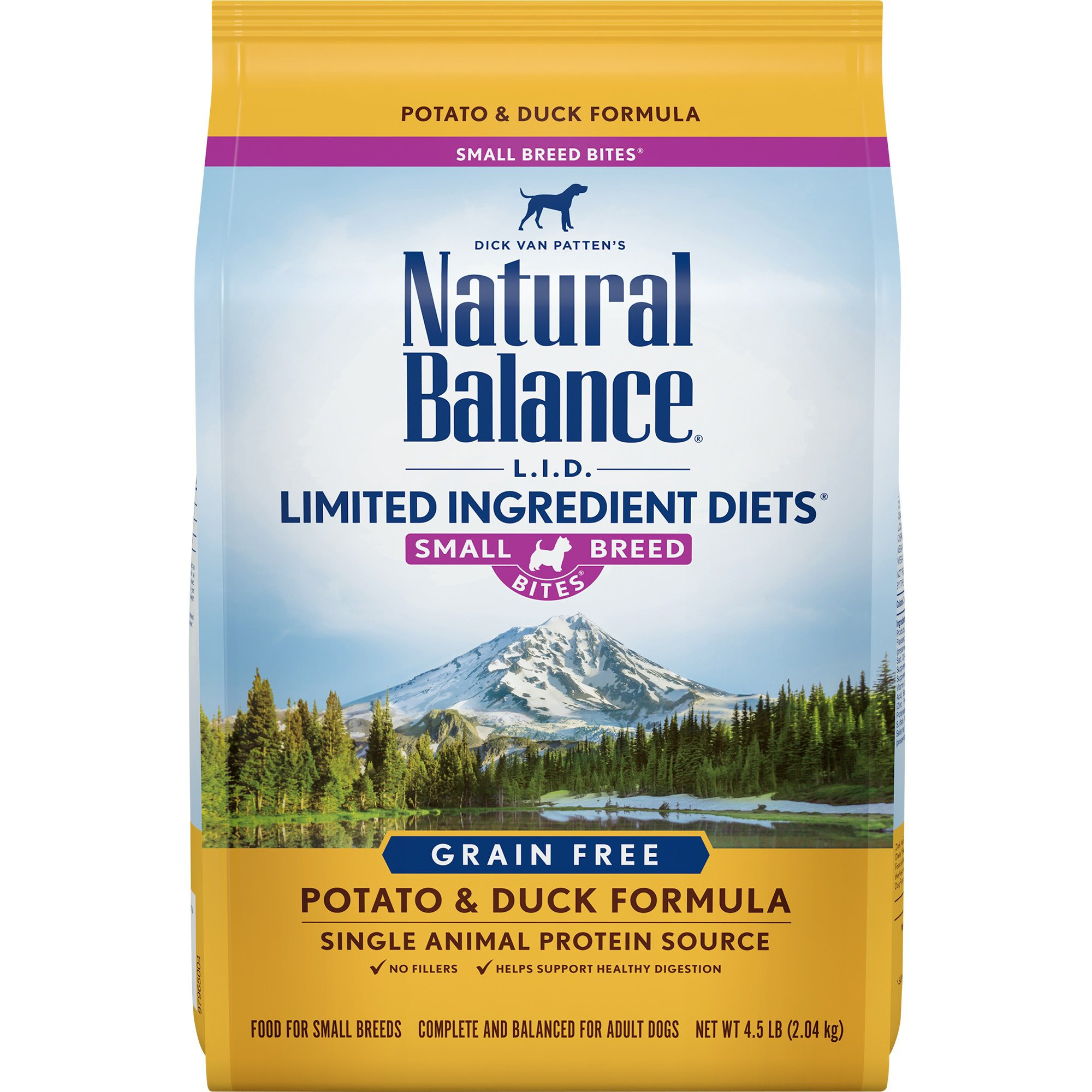 Natural Balance Small Breed Bites L.I.D. Limited Ingredient Diets Grain-Free Potato & Duck Formula Dry Dog Food, 4.5 lbs.