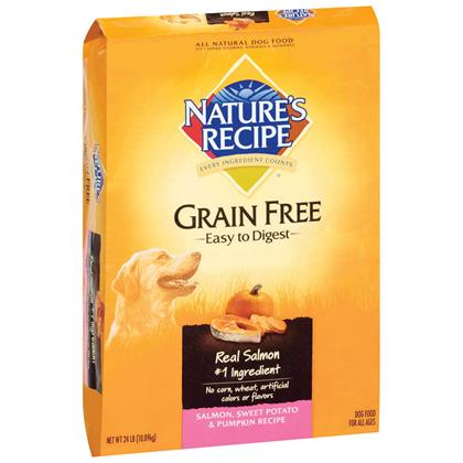 Nature's Recipe Grain Free Easy to Digest Dry Dog Food Salmon, Sweet Potato & Pumpkin 24lb