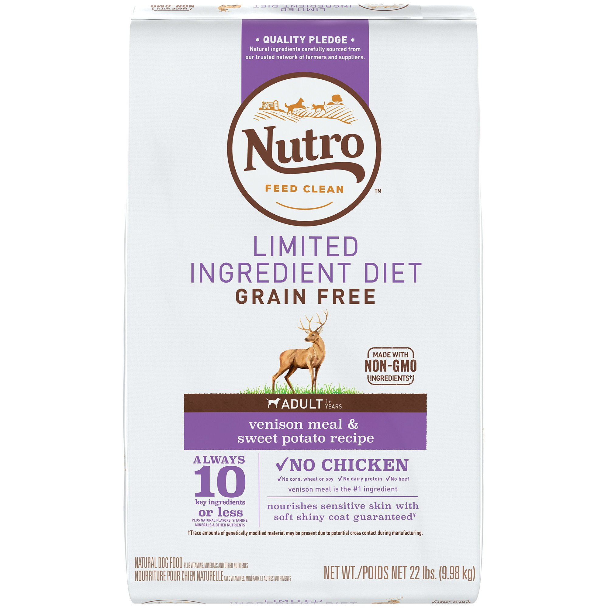 Nutro Limited Ingredient Diet Venison Meal & Sweet Potato Recipe Dry Adult Dog Food, 22 lbs. Bag