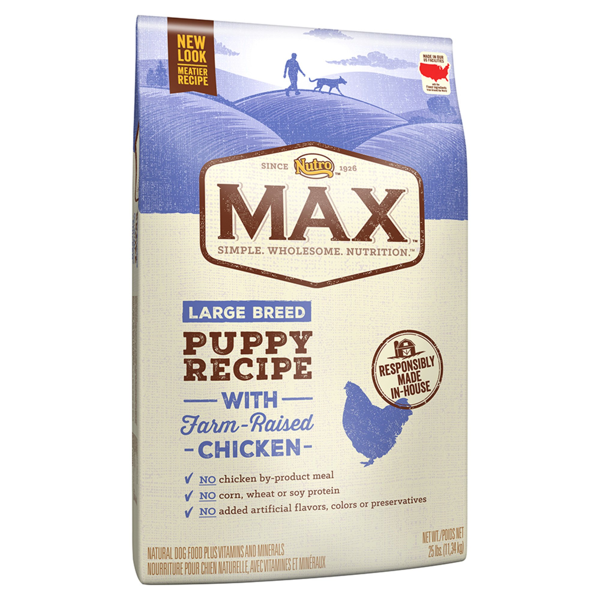 Nutro Max Recipe With Farm Raised Chicken Dry Large Breed Puppy Dog Food, 25 lbs. Bag