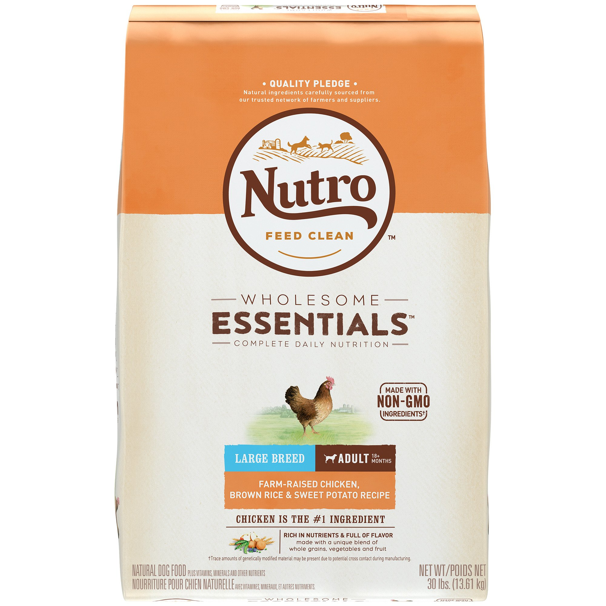 Nutro Wholesome Essentials Farm-Raised Chicken, Brown Rice & Sweet Potato Recipe Dry Large Breed Adult Dog Food, 30 lbs.