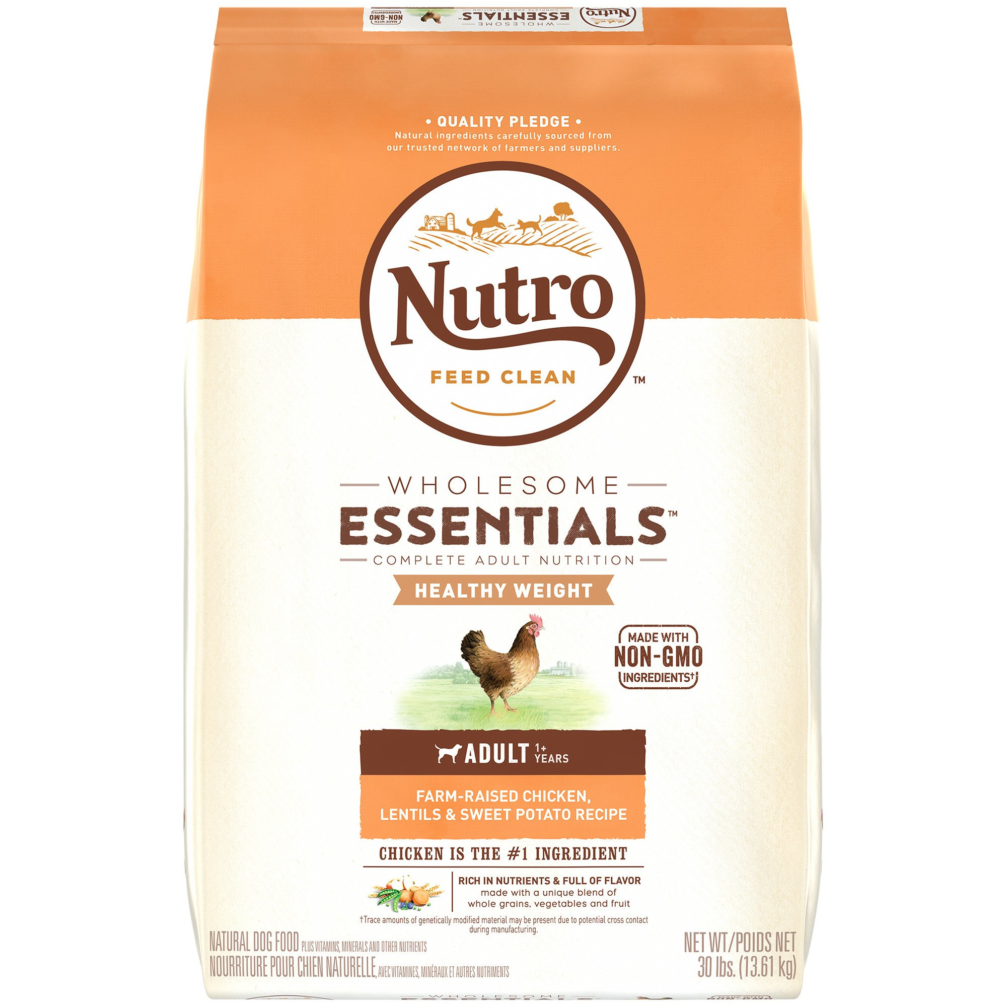 Nutro Wholesome Essentials Healthy Weight Farm-Raised Chicken, Lentils & Sweet Potato Recipe Dry Adult Dog Food, 30 lbs. Bag