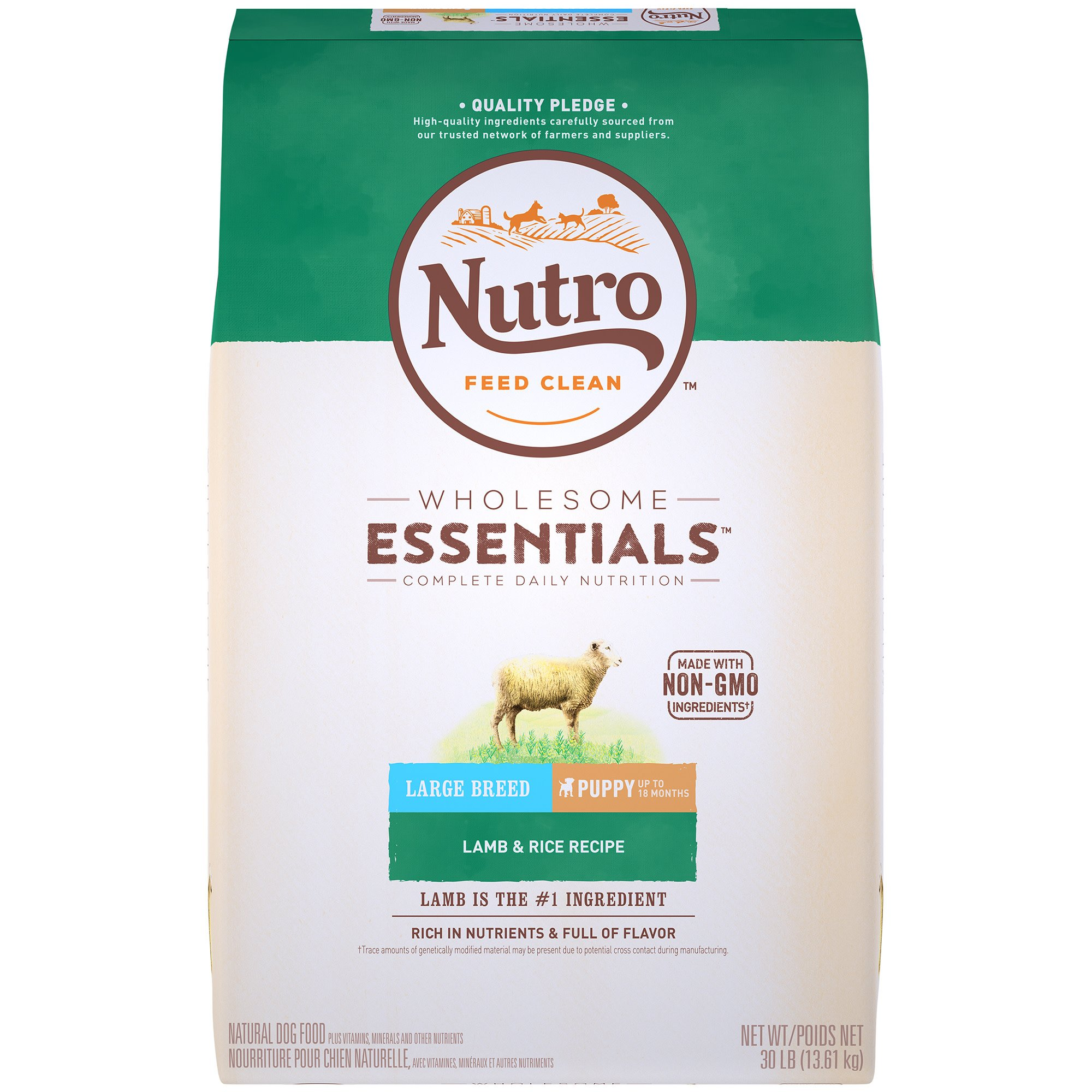 Nutro Wholesome Essentials Pasture-Fed Lamb & Rice Recipe Large Breed Puppy Dry Dog Food, 30 lbs.