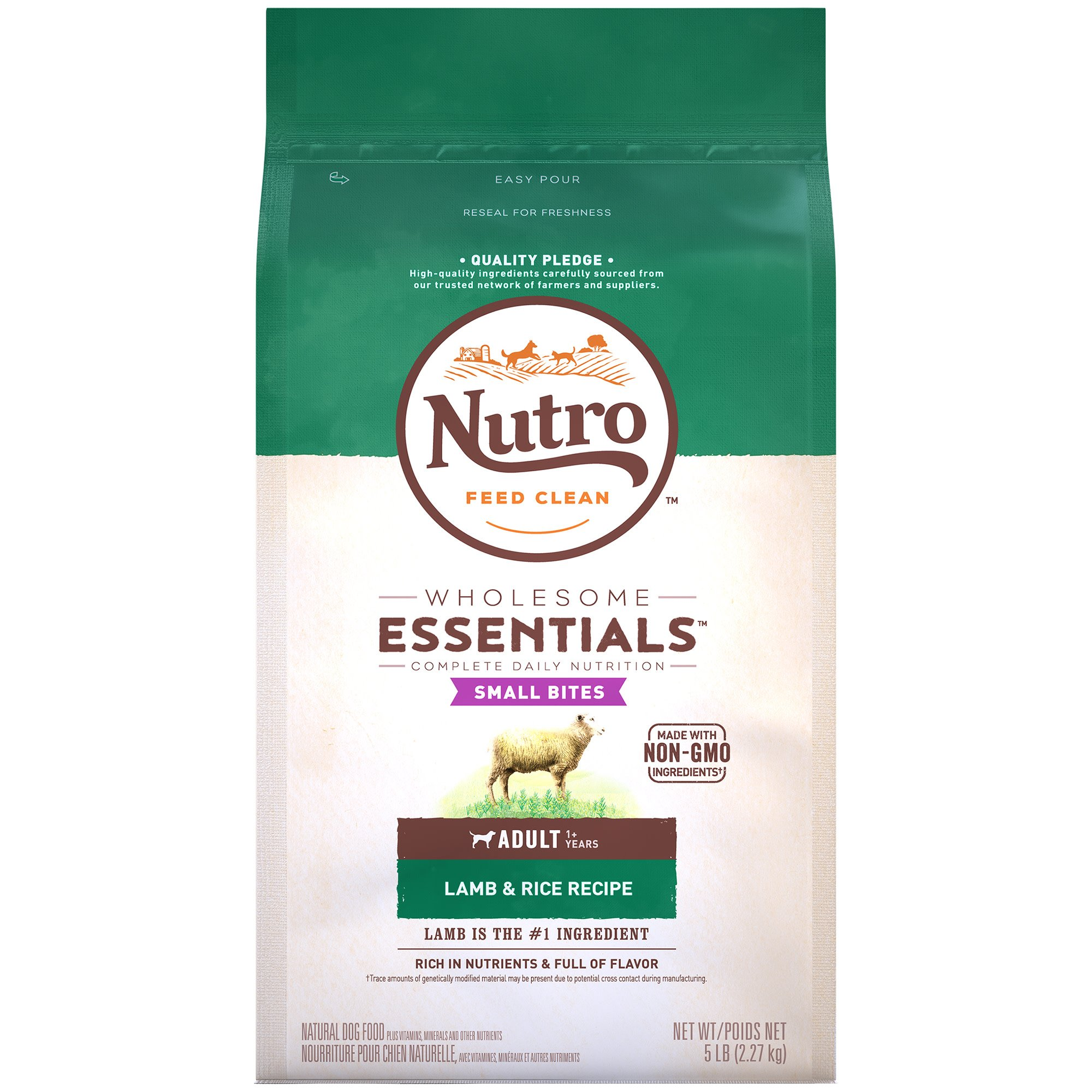 Nutro Wholesome Essentials Small Bites Pasture-Fed Lamb & Rice Recipe Adult Dry Dog Food, 5 lbs.