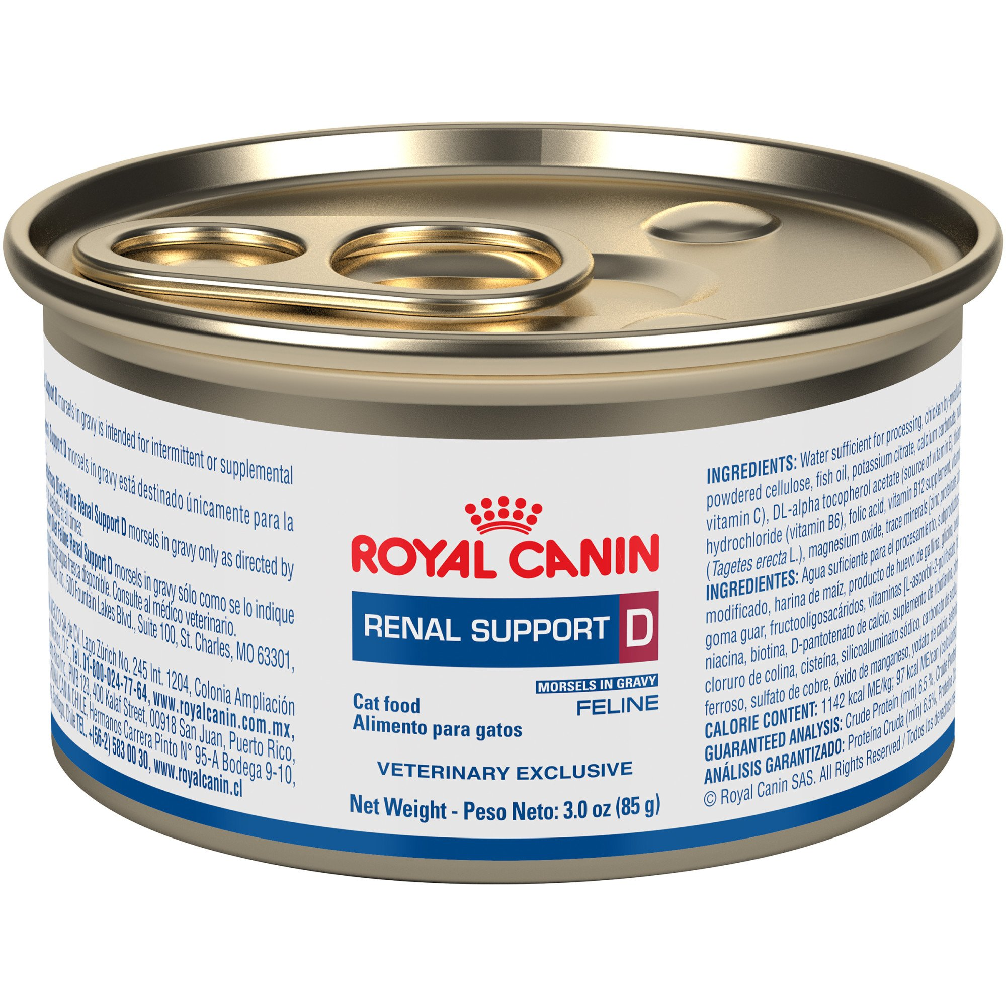 Royal Canin Veterinary Diet Feline Renal Support D Morsels In Gravy Canned Cat Food, 3 oz., Case of 24, 24 X 3 OZ