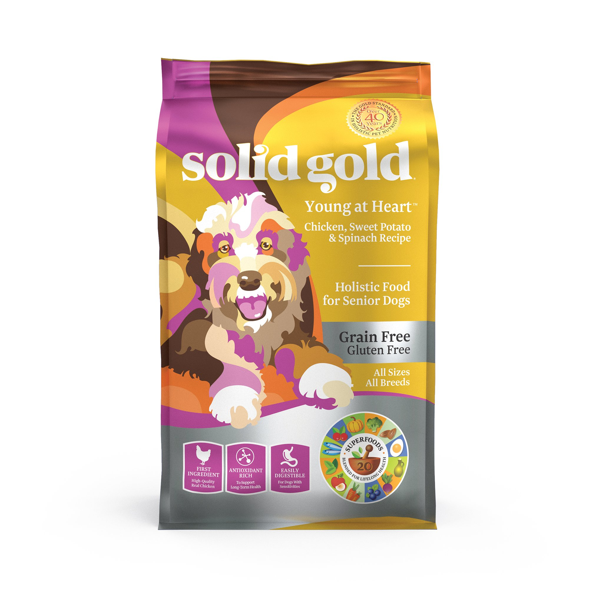 Solid Gold Young At Heart Chicken, Sweet Potato & Spinach Recipe Grain Free Dry Senior Dog Food, 4 lbs.