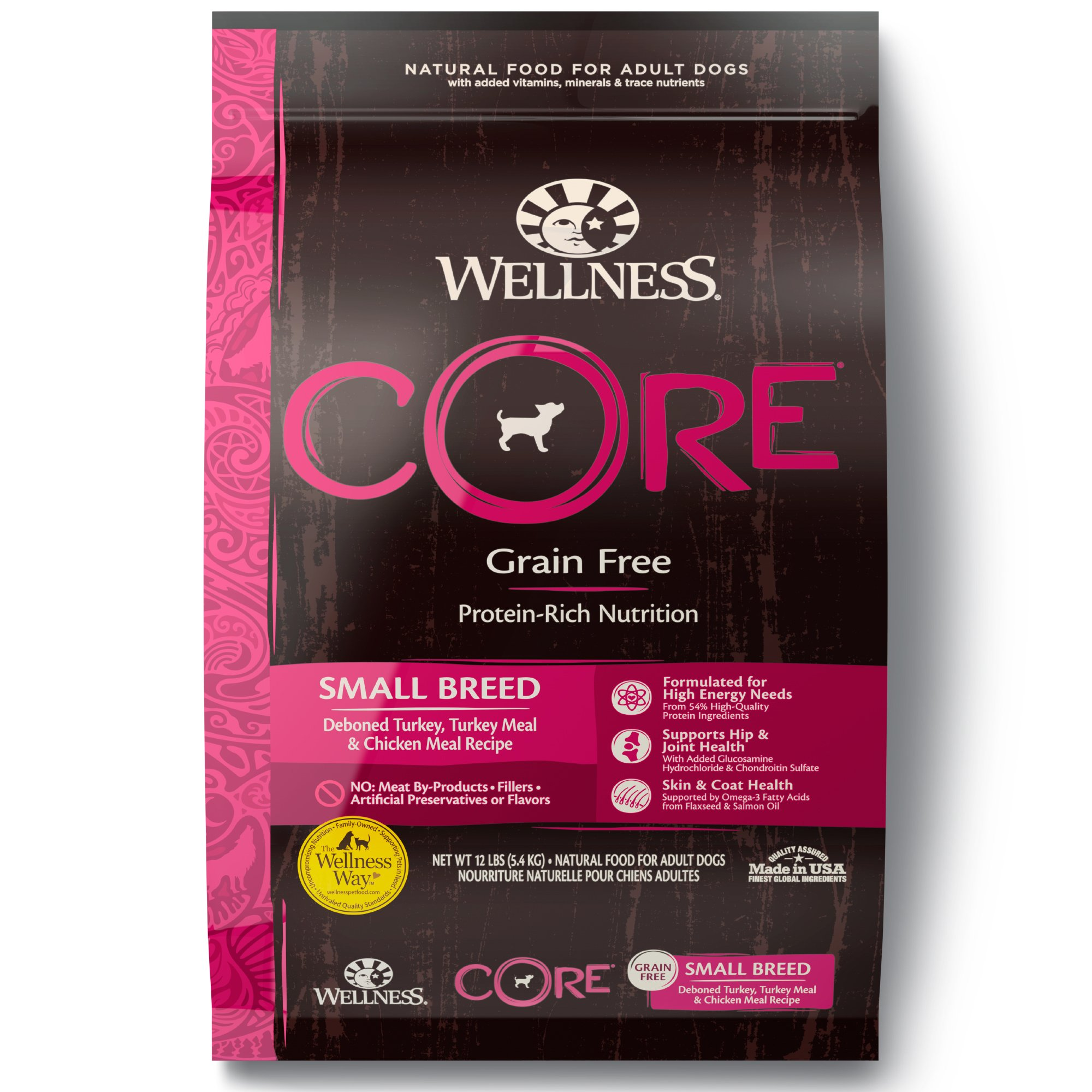 Wellness CORE Natural Grain Free Small Breed Health Recipe Dry Dog Food, 12 lbs.