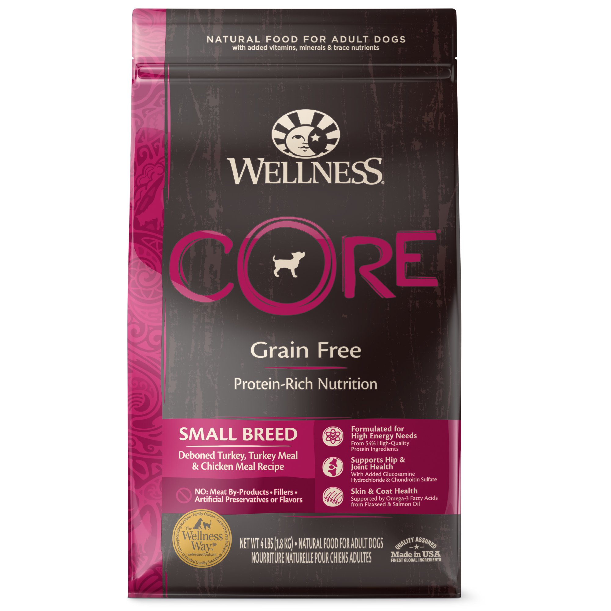 Wellness CORE Natural Grain Free Small Breed Health Recipe Dry Dog Food, 4 lbs.