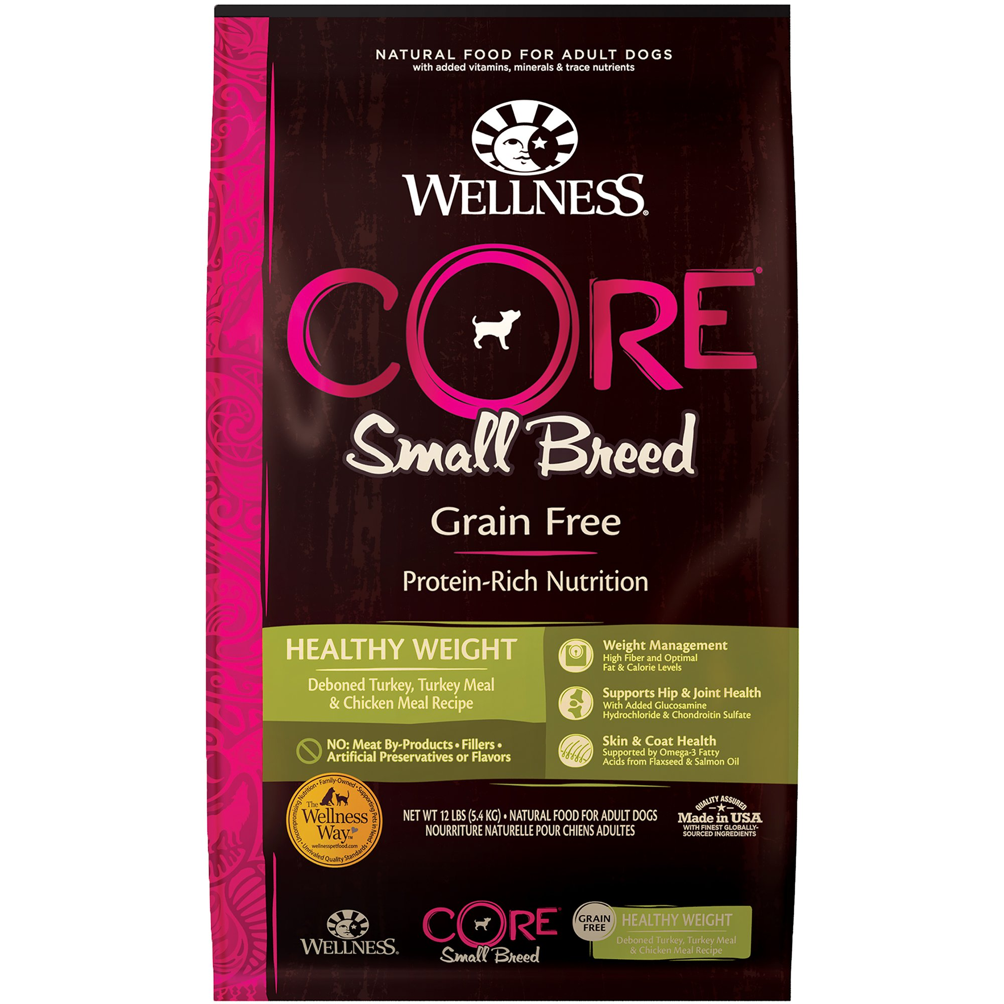 Wellness CORE Natural Grain Free Small Breed Healthy Weight Dry Dog Food, 12 lbs.