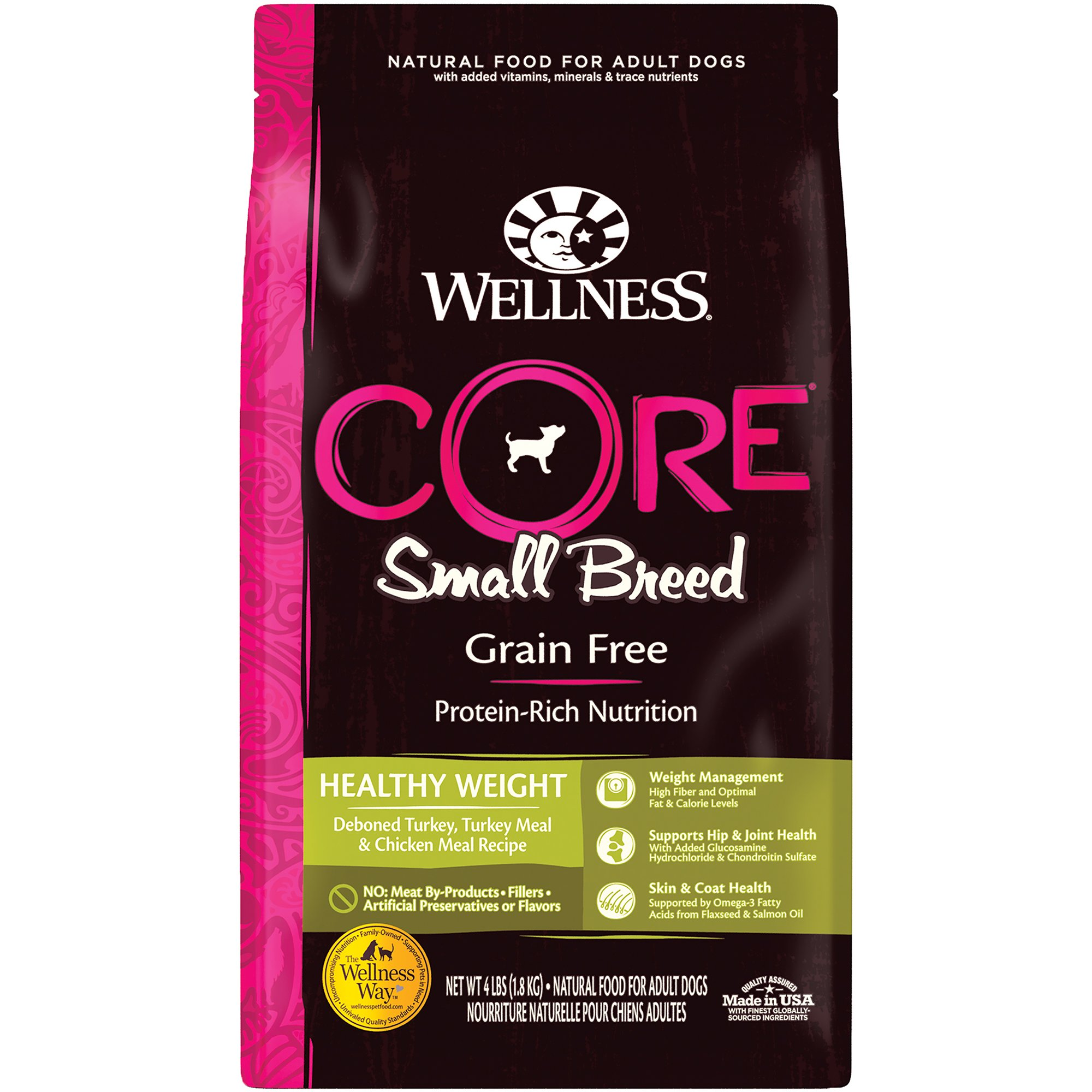 Wellness CORE Natural Grain Free Small Breed Healthy Weight Dry Dog Food, 4 lbs.