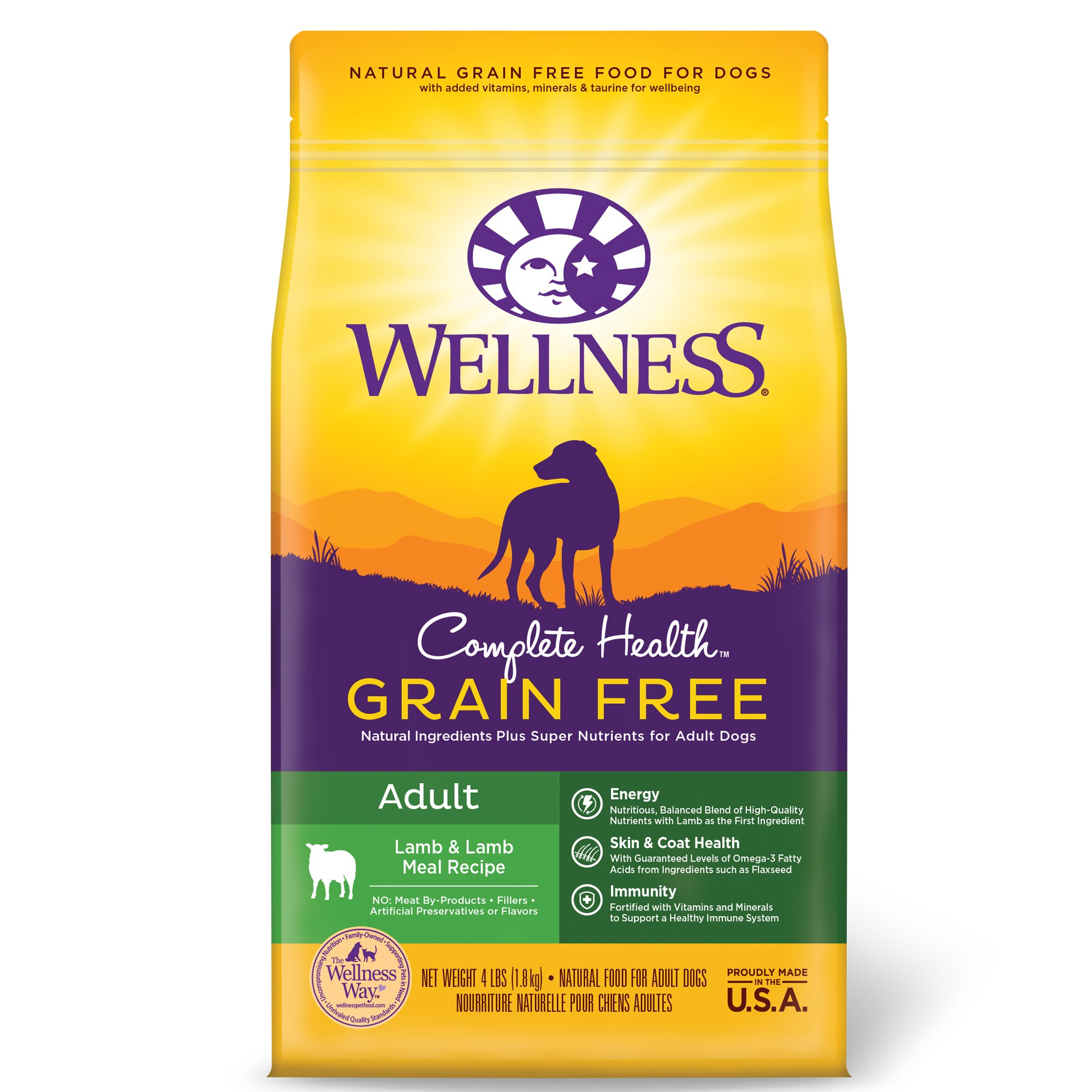 Wellness Complete Health Grain Free Adult Lamb & Lamb Meal Recipe Dry Dog Food, 4 lbs.