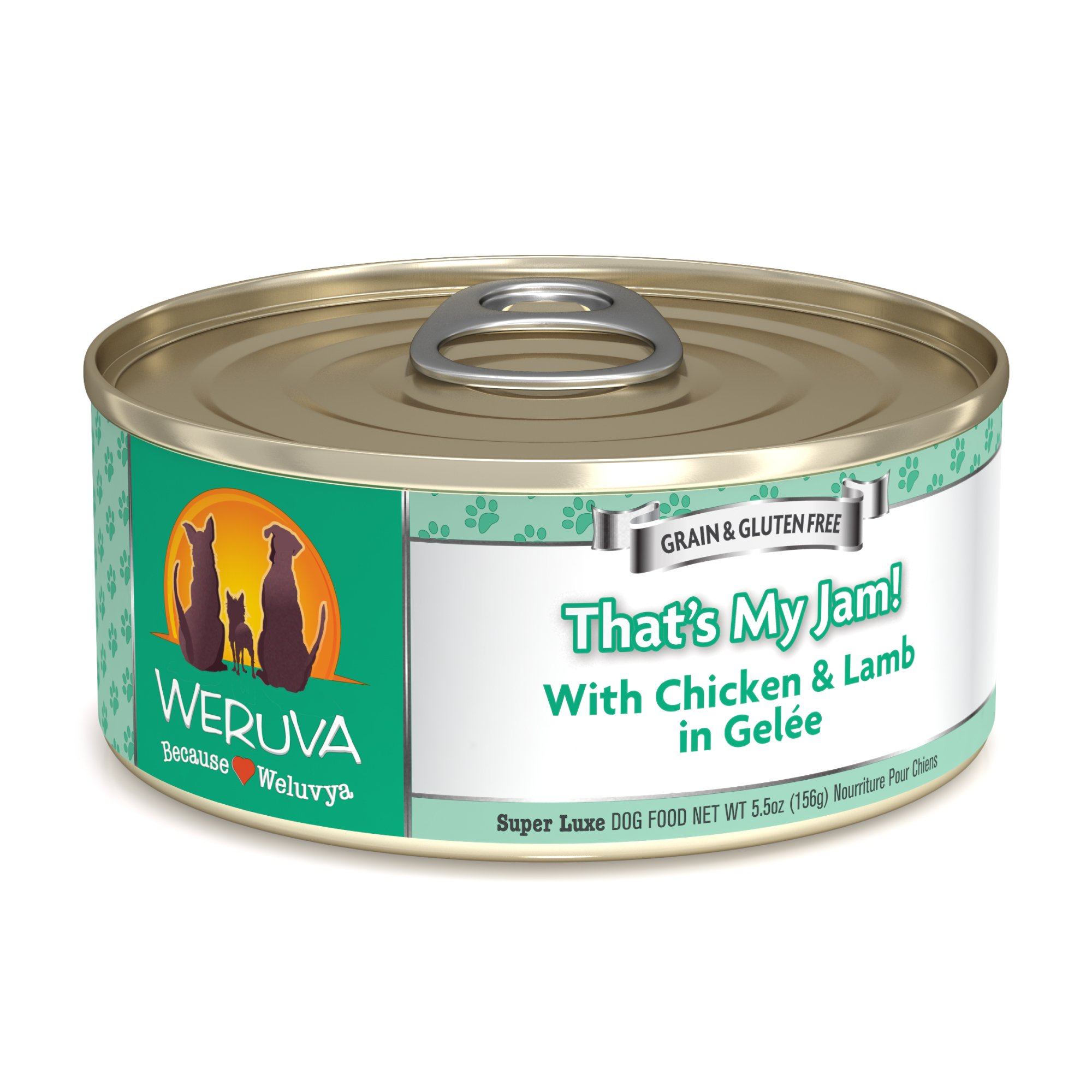 Weruva Classics That's My Jam! With Chicken & Lamb in Gelee Wet Dog Food, 5.5 oz, Case of 24, 24 X 5.5 OZ