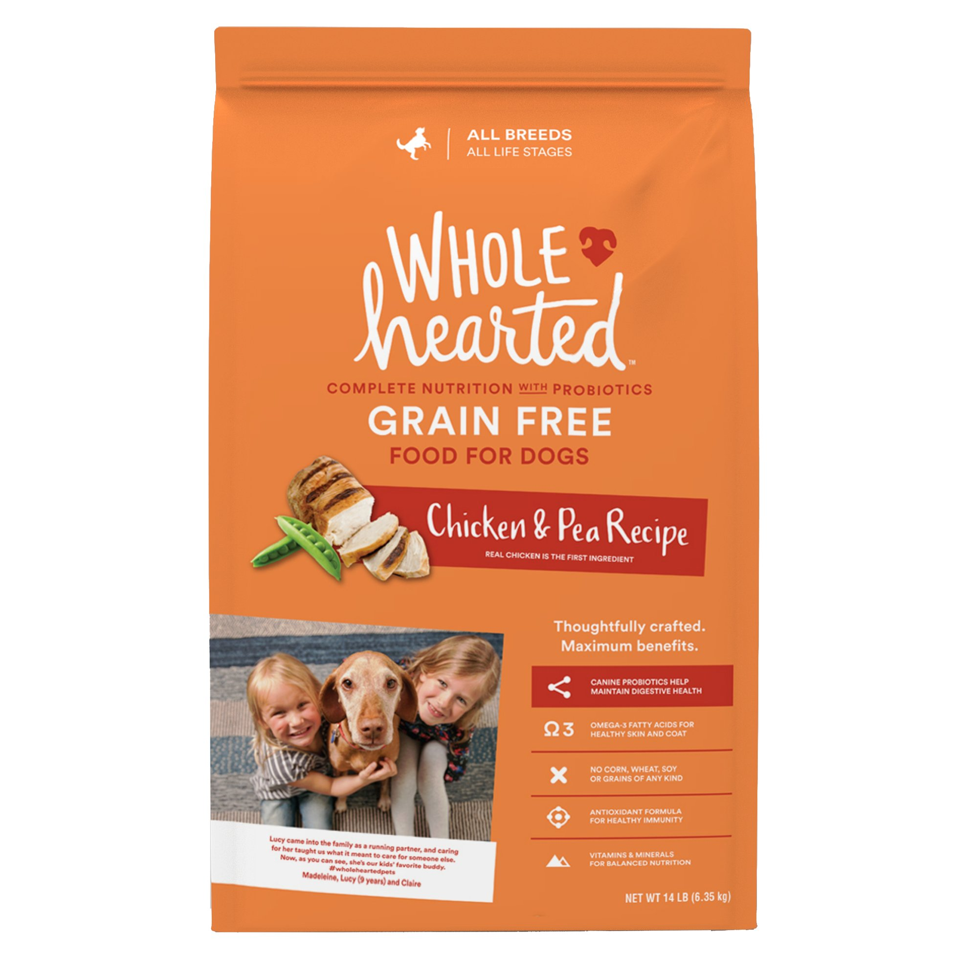 WholeHearted Grain Free All Life Stages Chicken & Pea Recipe Dry Dog Food, 14 lbs.