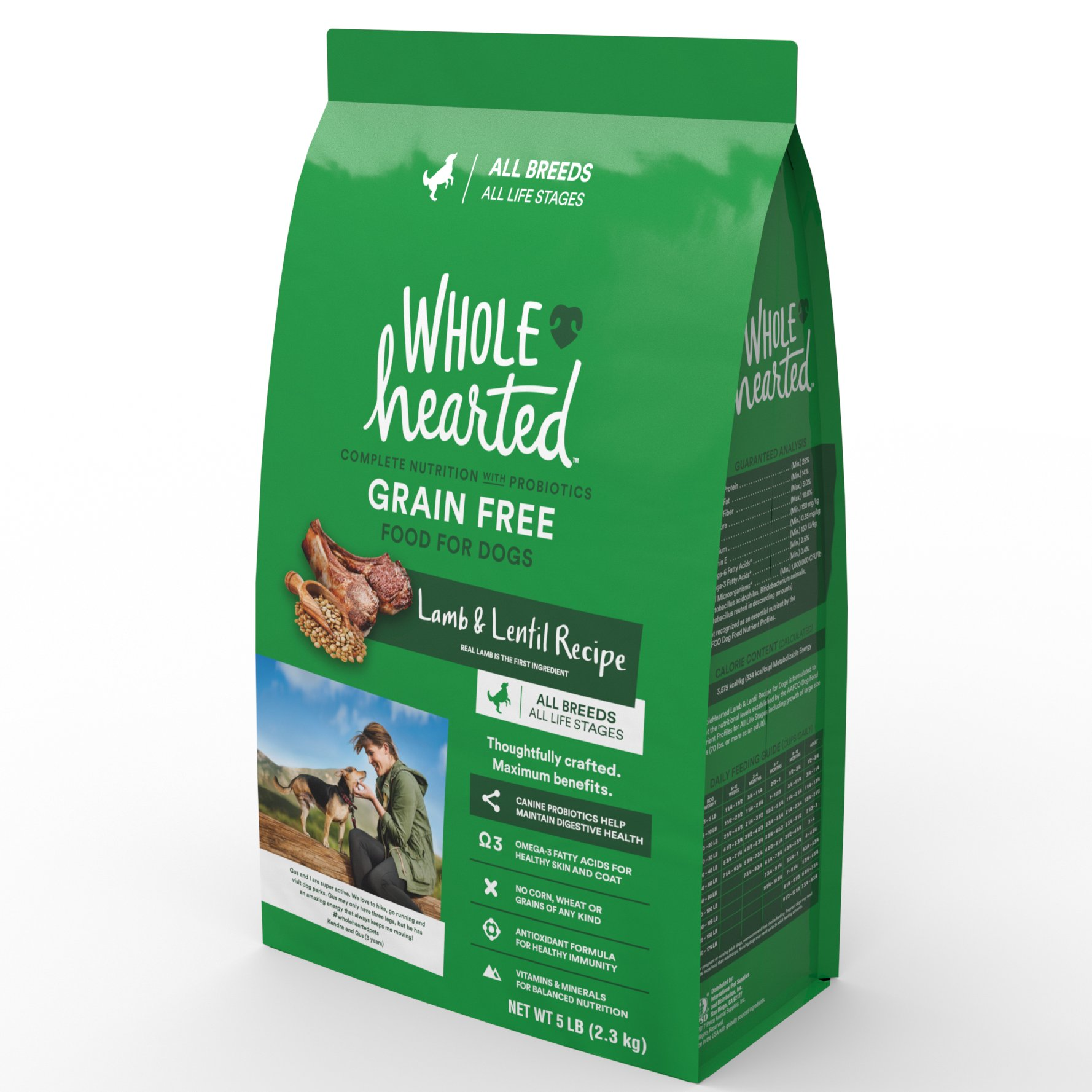 WholeHearted Grain Free All Life Stages Lamb and Lentil Formula Dry Dog Food, 5 lbs.