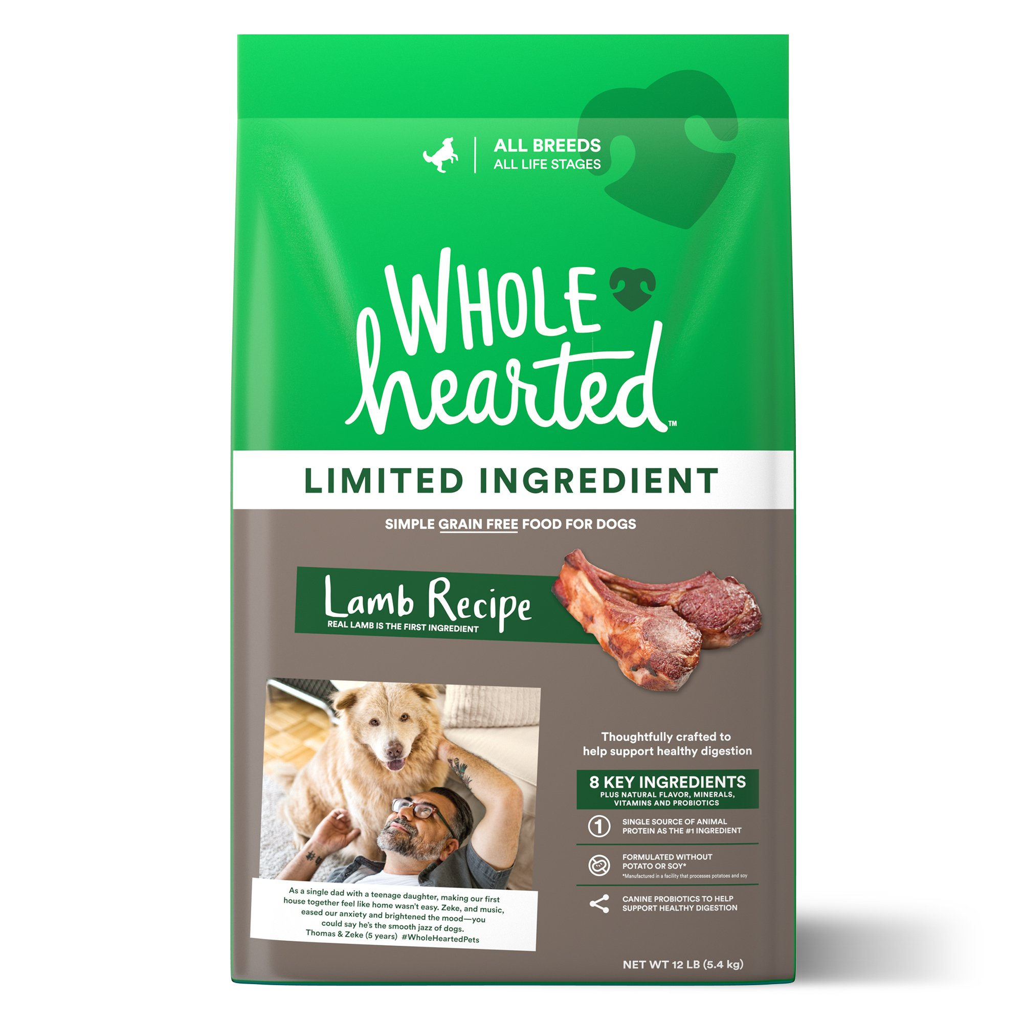 WholeHearted Grain Free Limited Ingredient Lamb Recipe Dry Dog Food for All Life Stages and Breeds, 12 lbs.