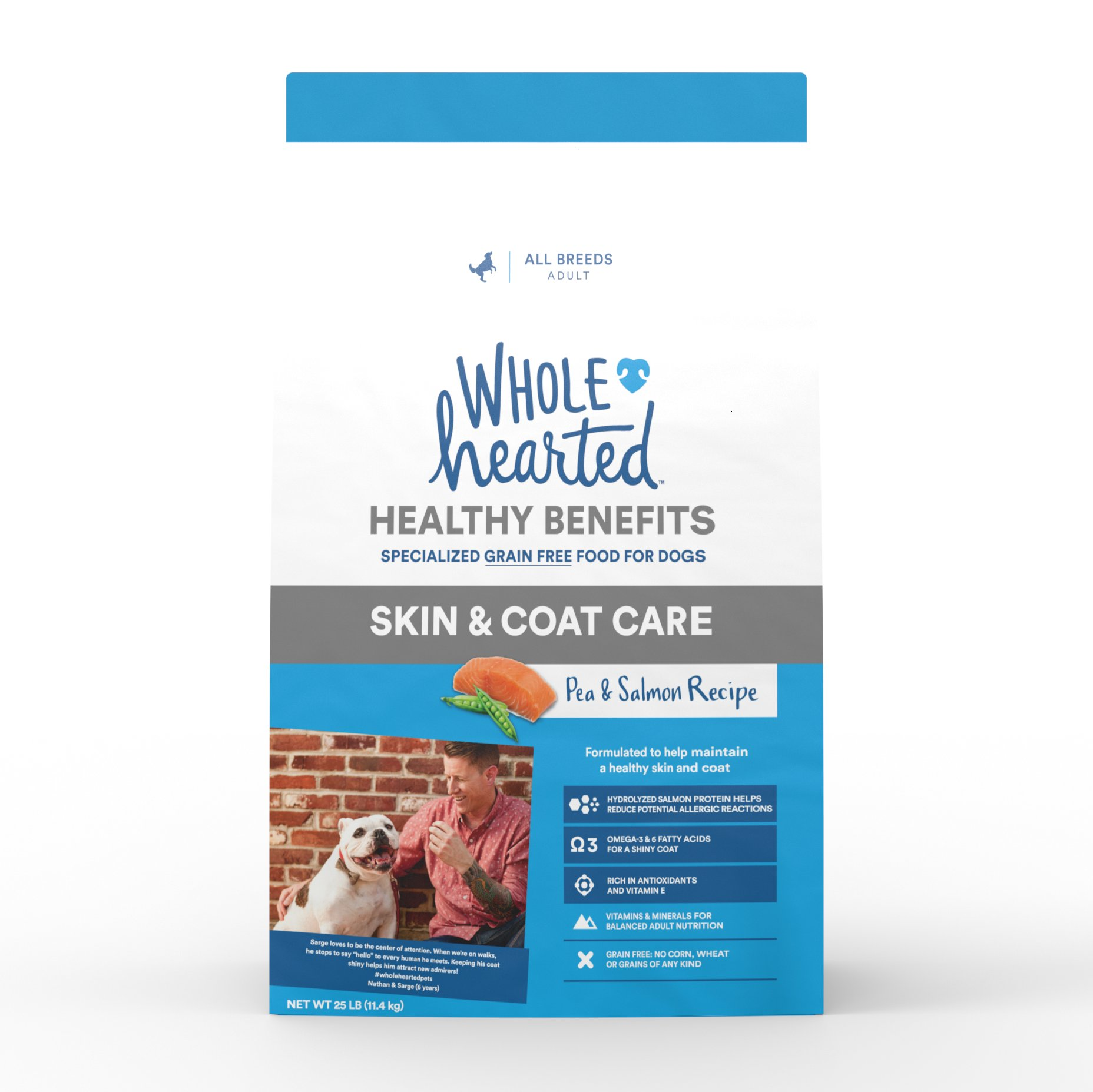 WholeHearted Grain Free Skin and Coat Care Pea and Salmon Recipe Dry Dog Food, 25 lbs.