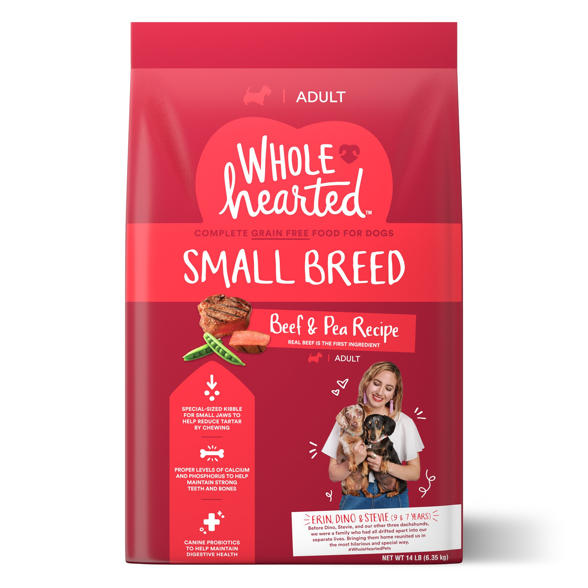 WholeHearted Grain Free Small-Breed Beef and Pea Recipe Adult Dry Dog Food, 14 lbs.