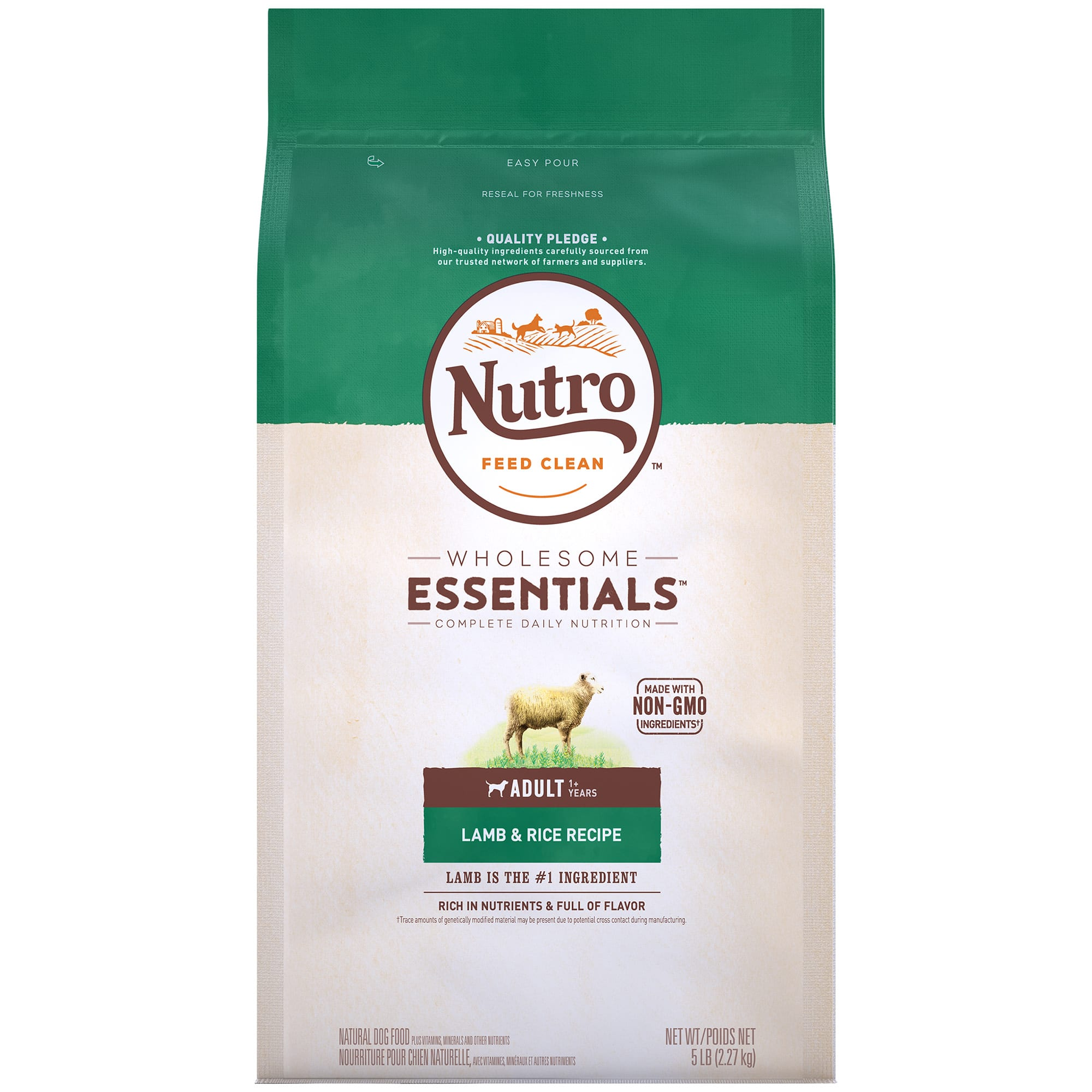 Nutro Wholesome Essentials Natural Lamb & Rice Recipe Adult Dry Dog Food, 5 lbs.