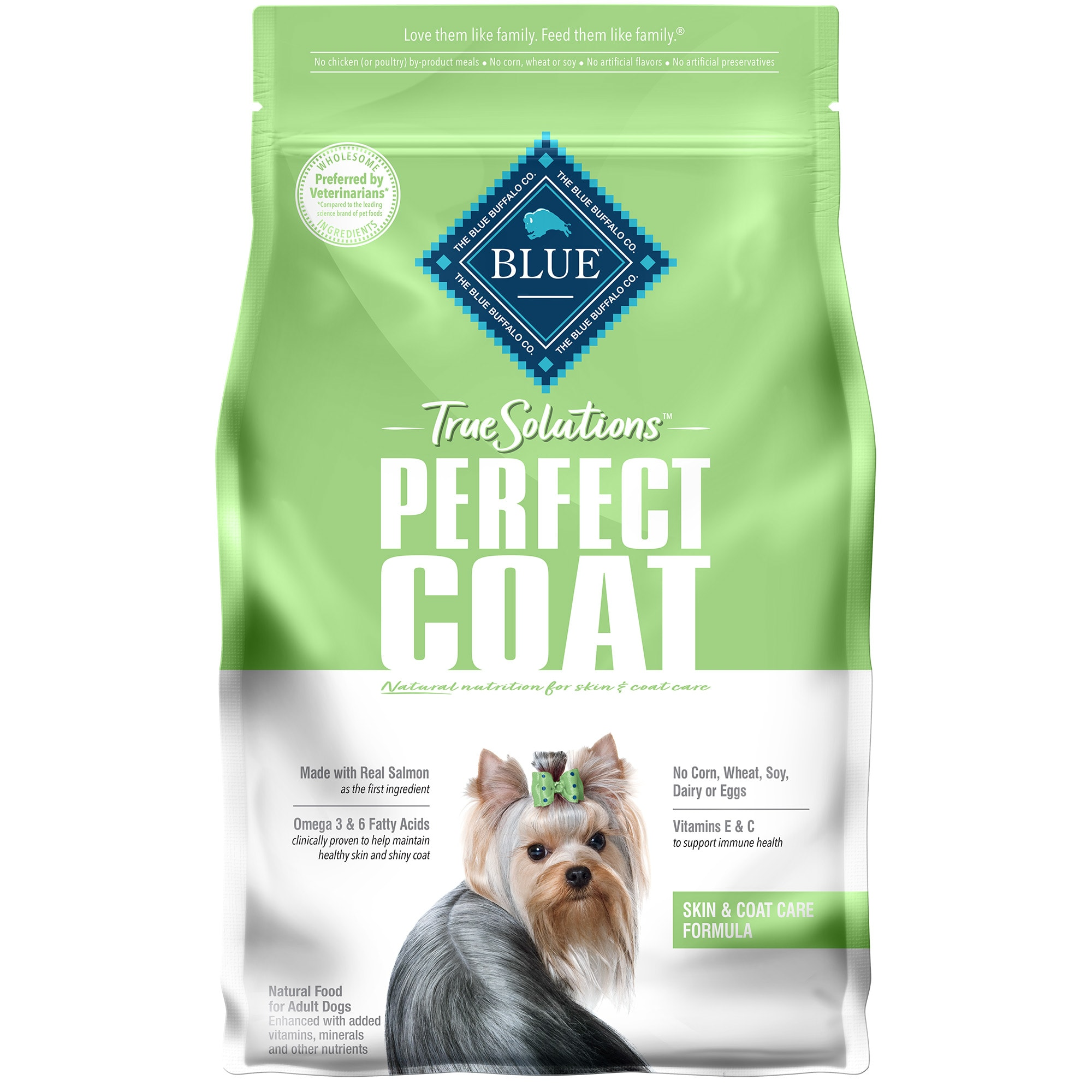 Blue Buffalo True Solutions Perfect Coat Natural Skin & Coat Care Salmon Flavor Adult Dry Dog Food, 4 lbs.