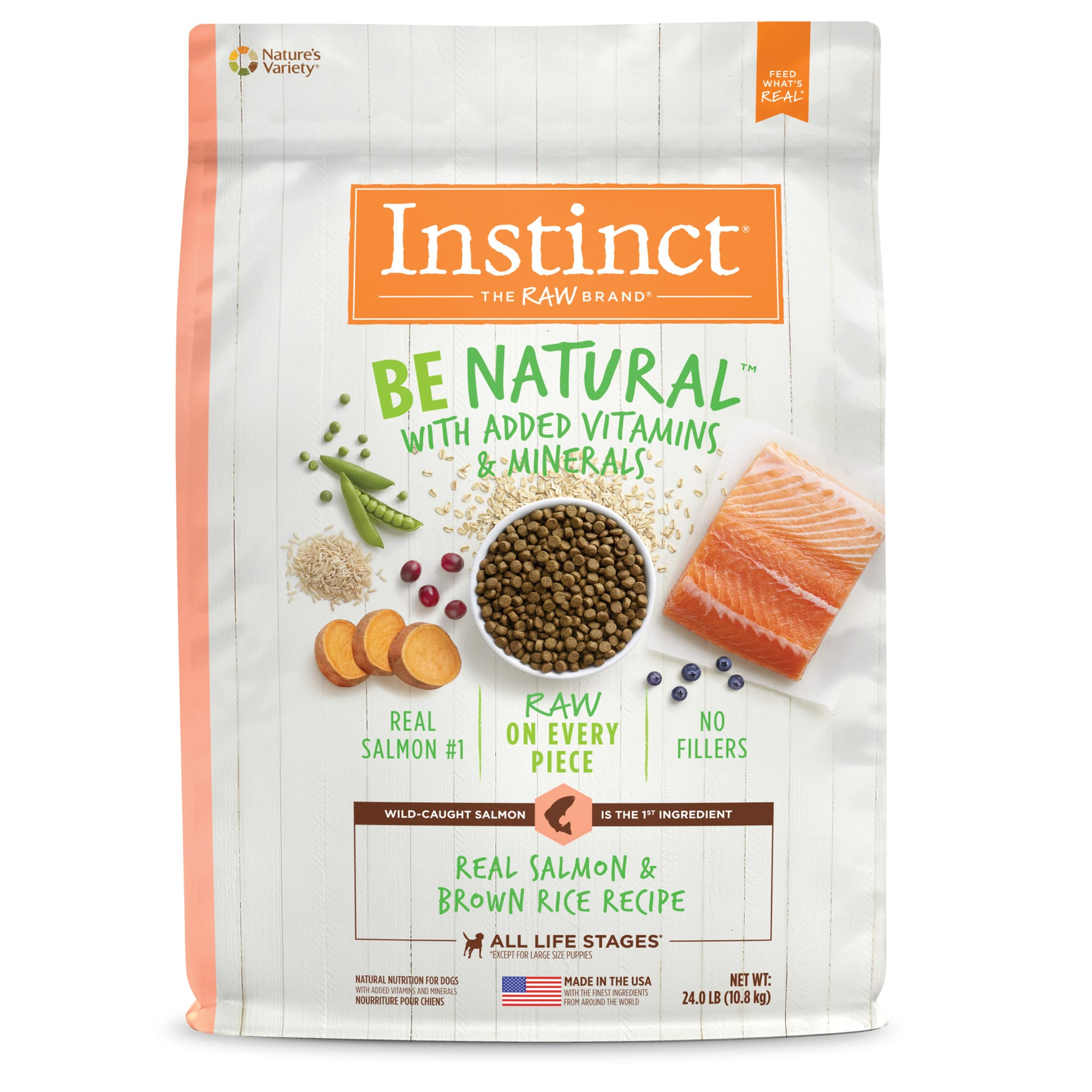 Instinct Be Natural Real Salmon & Brown Rice Recipe Freeze-Dried Raw Coated Dry Dog Food, 24 lbs.