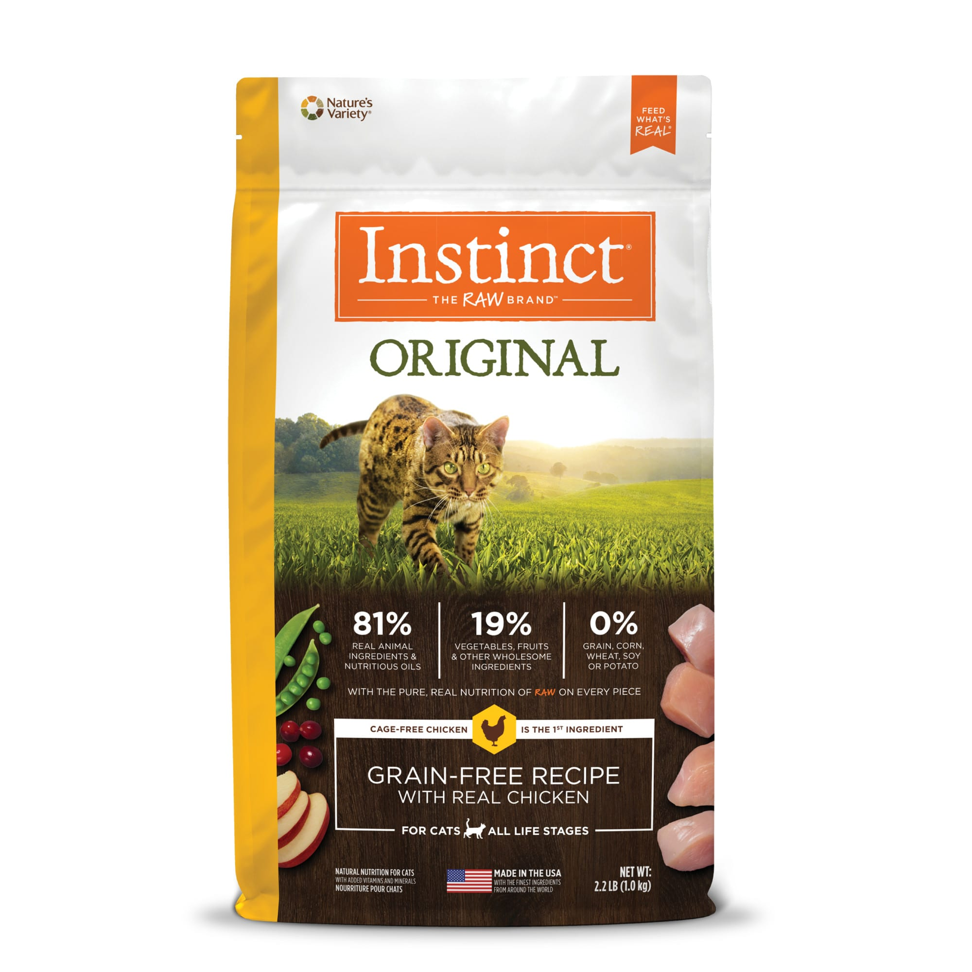 Instinct Original Grain-Free Recipe with Real Chicken Freeze-Dried Raw Coated Dry Cat Food, 2.2 lbs.